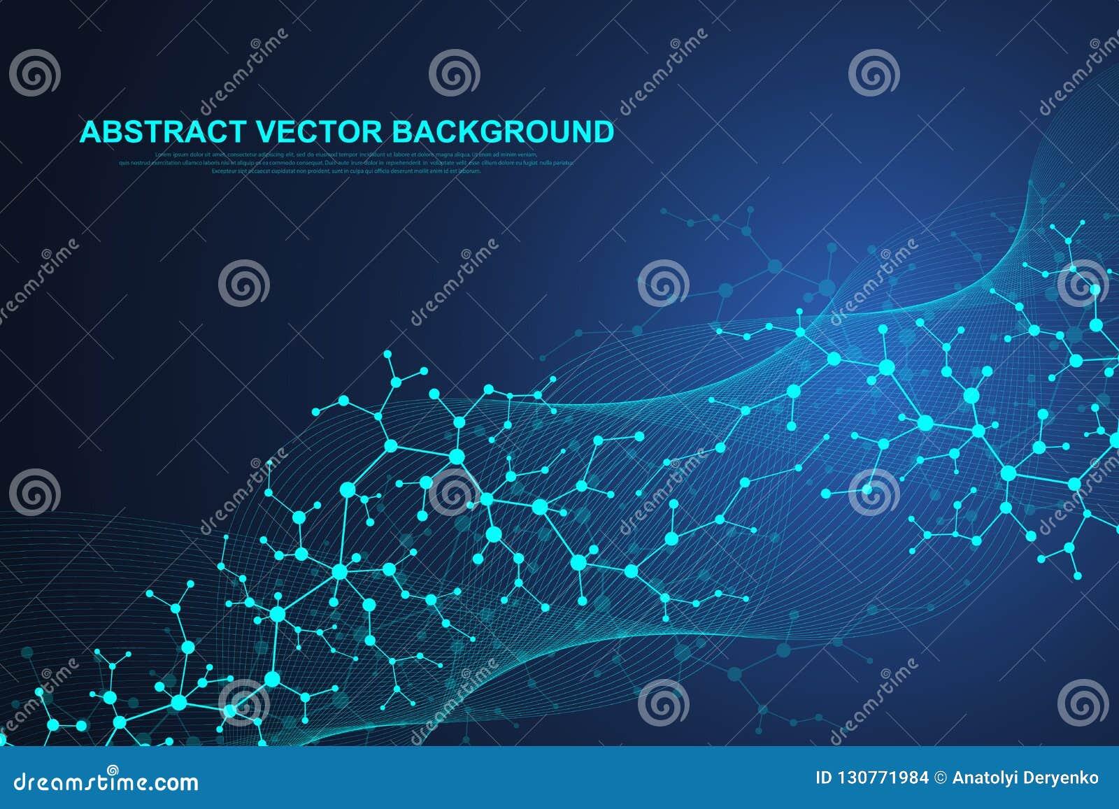 Fondo científico de la molécula para la medicina, ciencia, tecnología, química Flujo de las ondas Papel pintado o bandera con una