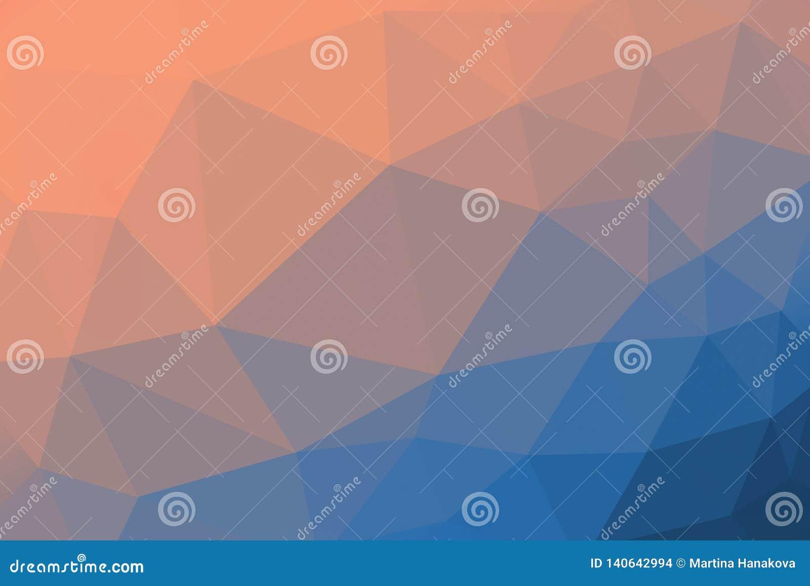 Fondo coloreado anaranjado y azul del triángulo de la pendiente, modelo abstracto del polígono