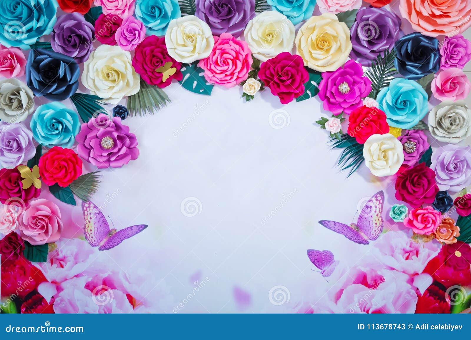Fondo Coloreado De La Flor Para Escribir Capítulo Hecho De Flores