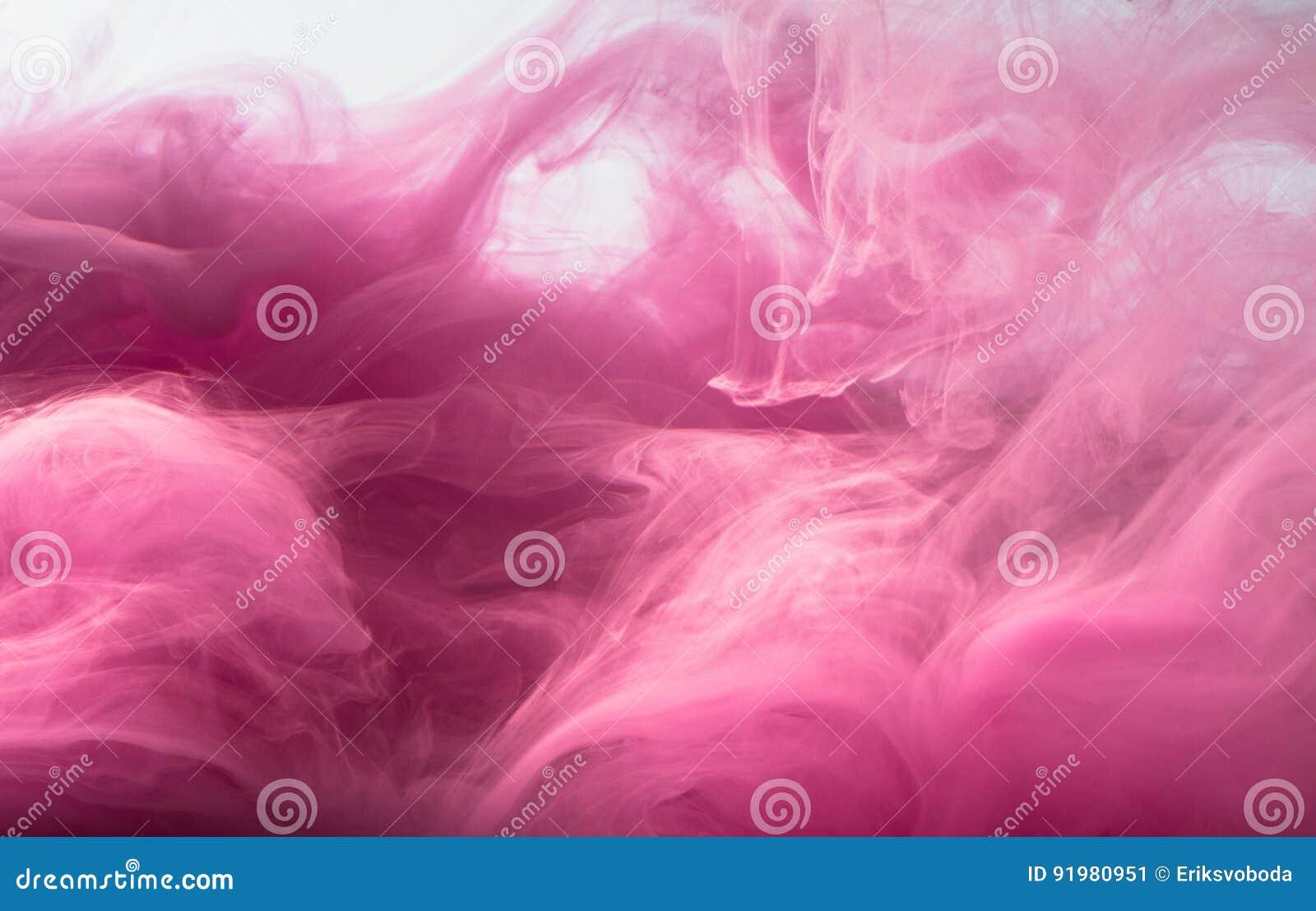 Fondo coloreado extracto Humo rosado, tinta en agua, los modelos del universo Movimiento abstracto, congelado