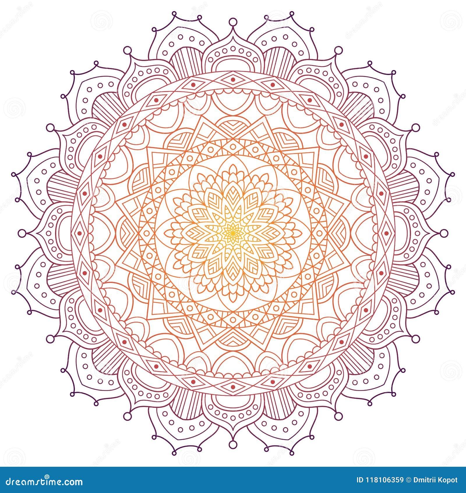 Fondo coloreado modelo de la mandala Ilustración del vector Elemento de la meditación para la yoga de la India Ornamento para a d
