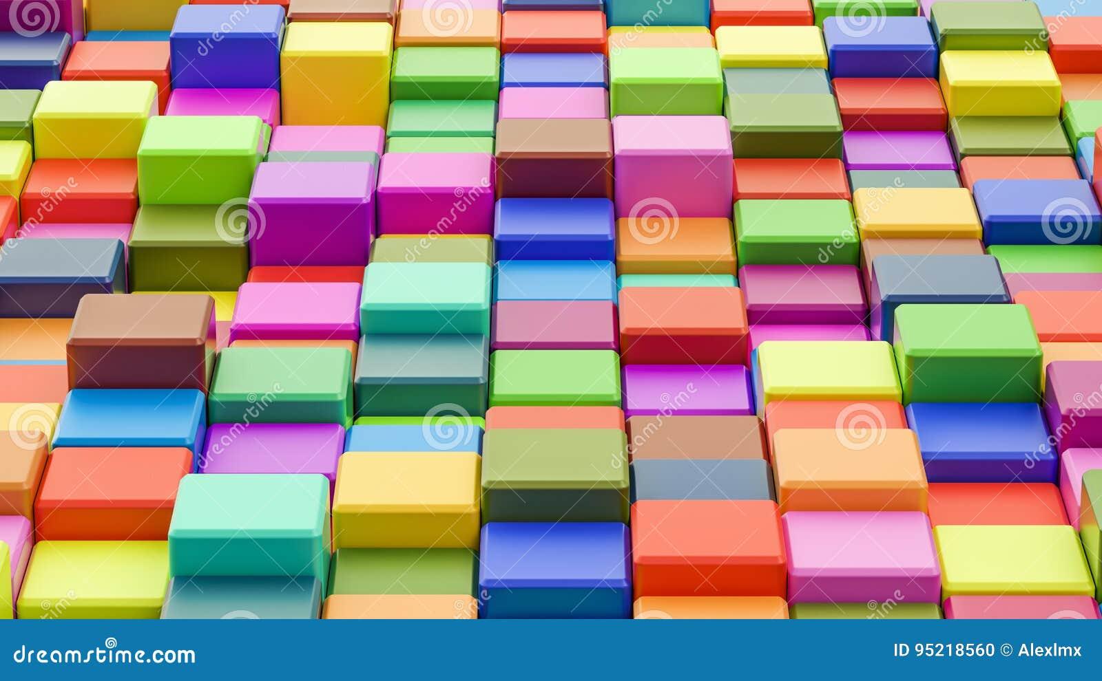 Fondo colorido abstracto de los cubos en 8K la resolución, 3D