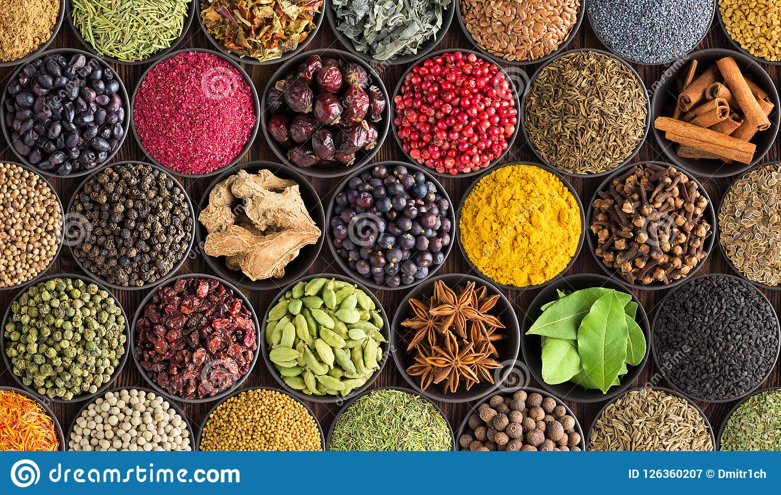 Fondo colorido de la especia, visión superior Condimentos e hierbas para adentro