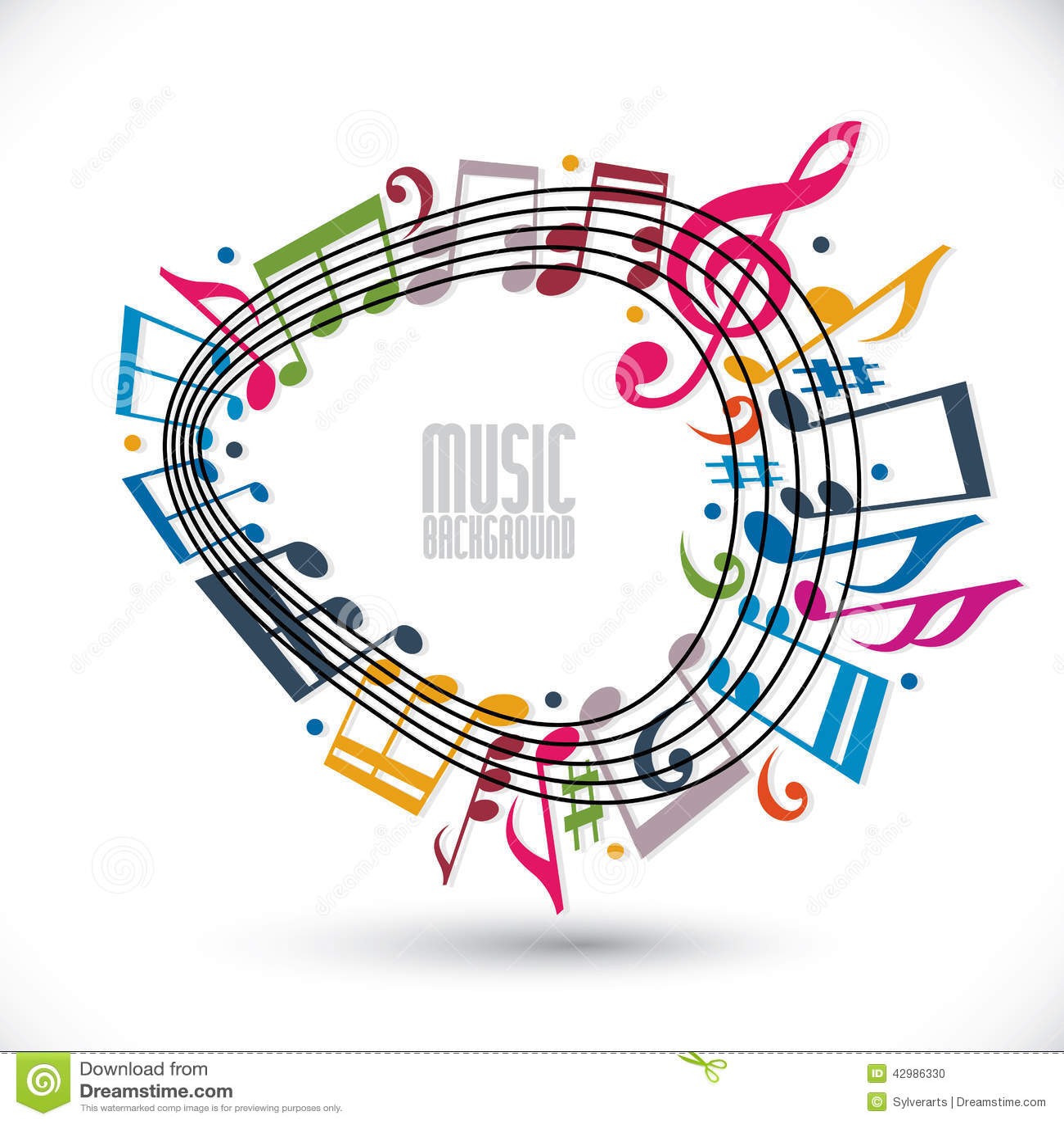 Fondo Colorido De La Música Con La Clave Y Las Notas, Hoja De Música ...