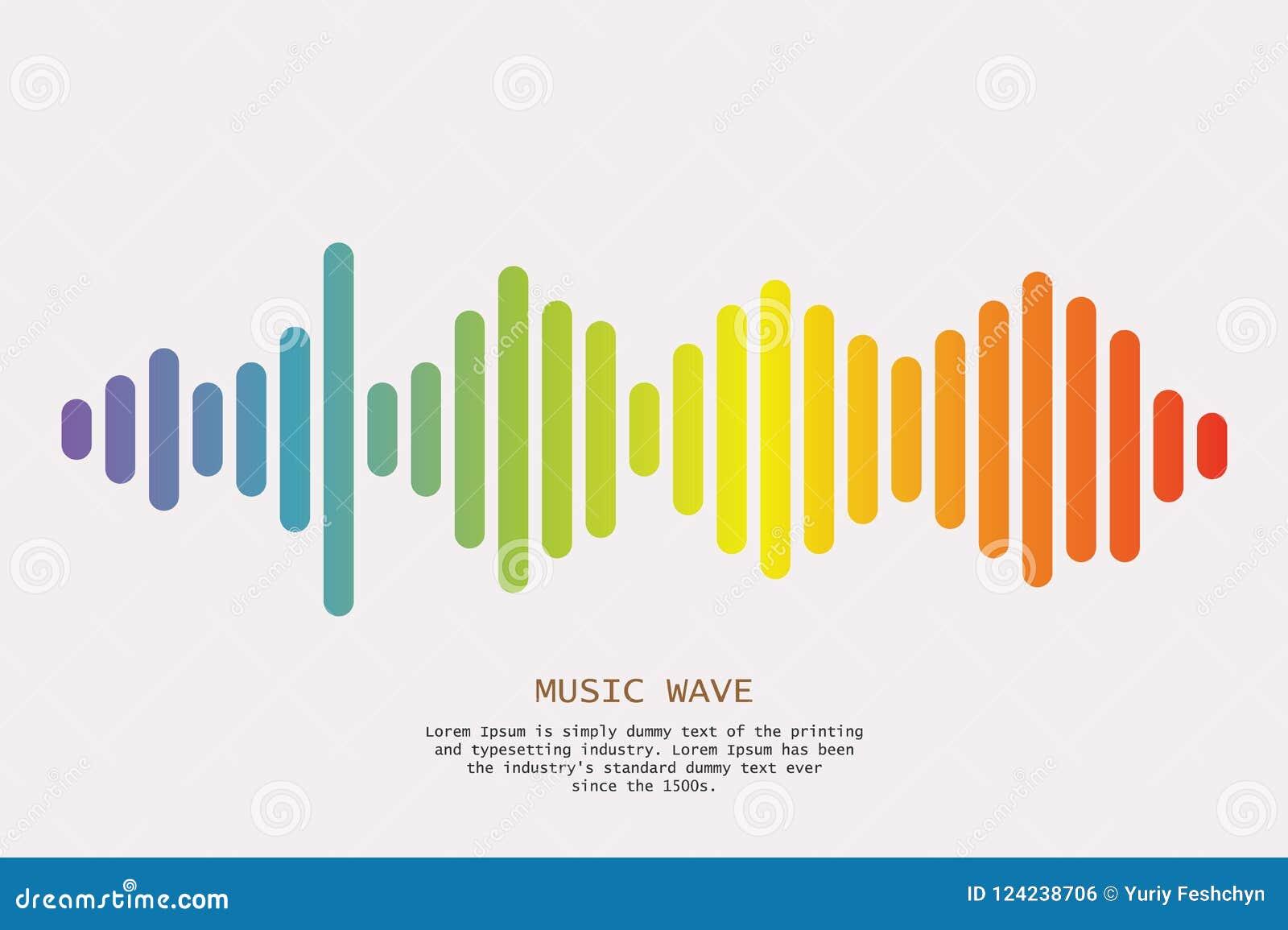 Fondo colorido de las ondas acústicas Símbolo aislado del diseño