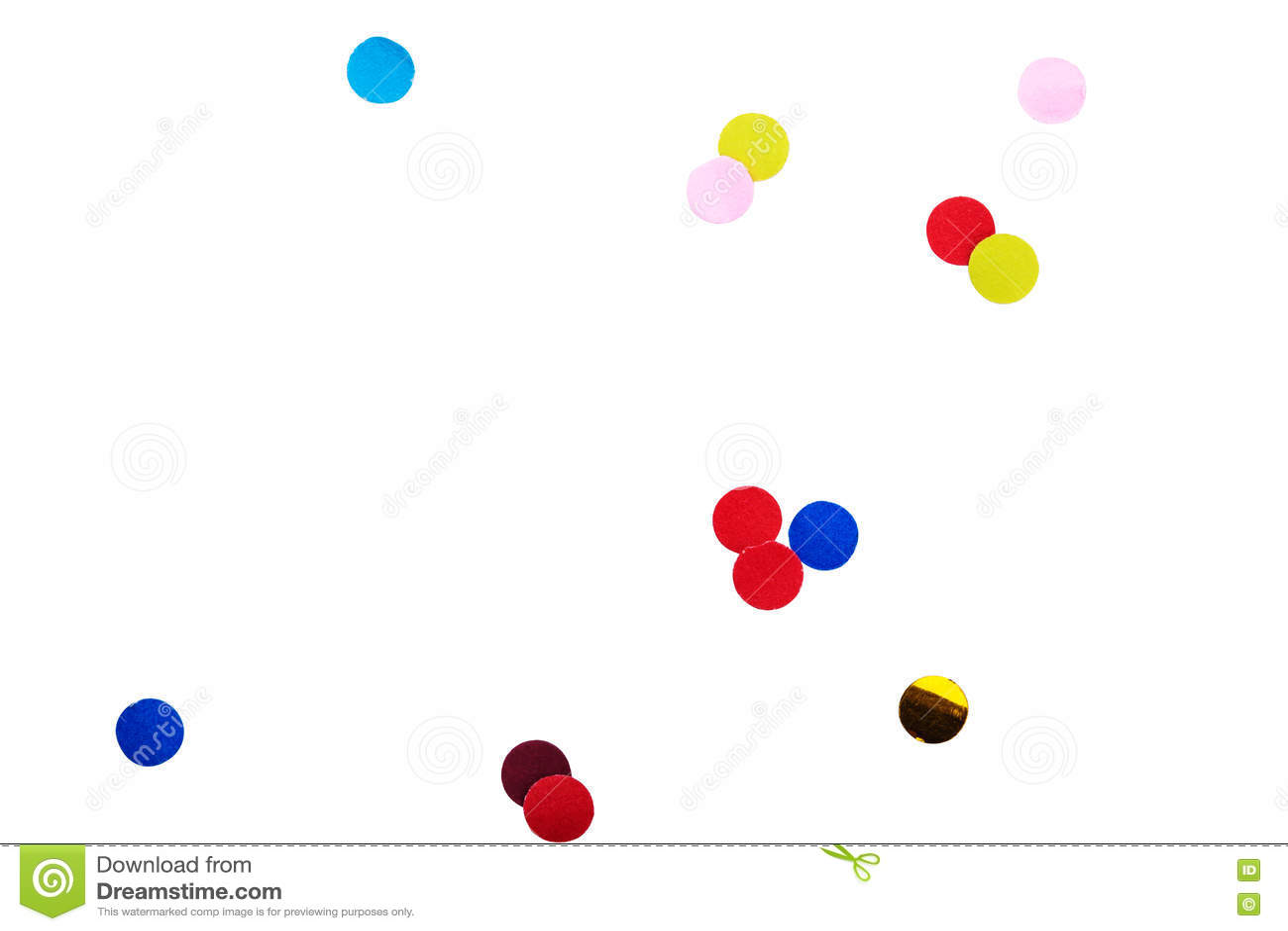 Fondo colorido del blanco del aislante del confeti