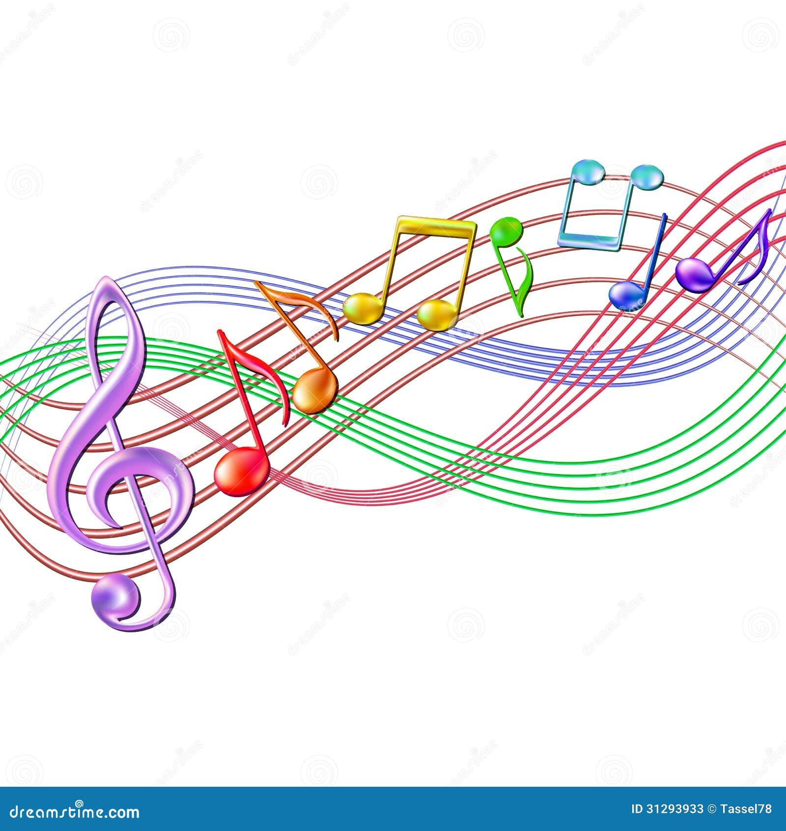 Fotos de archivo: Fondo colorido del personal de las notas musicales ...