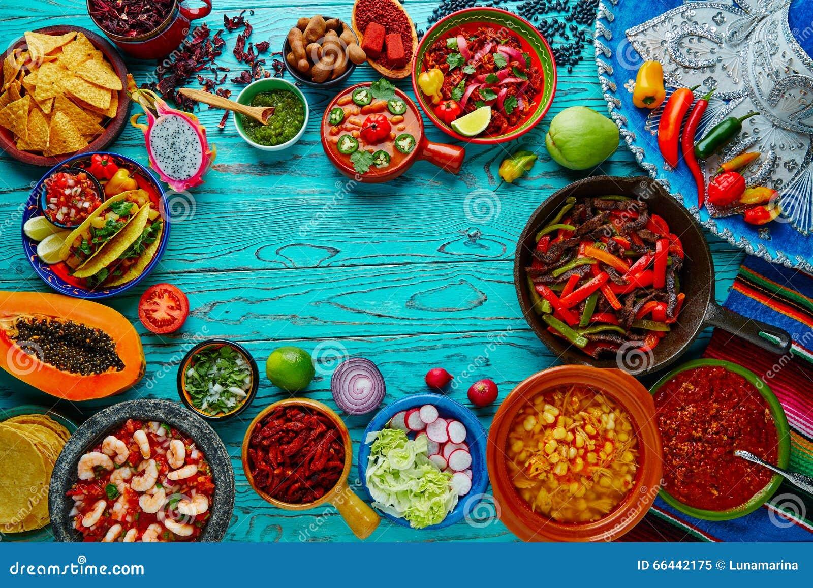 Fondo colorido México de la mezcla mexicana de la comida