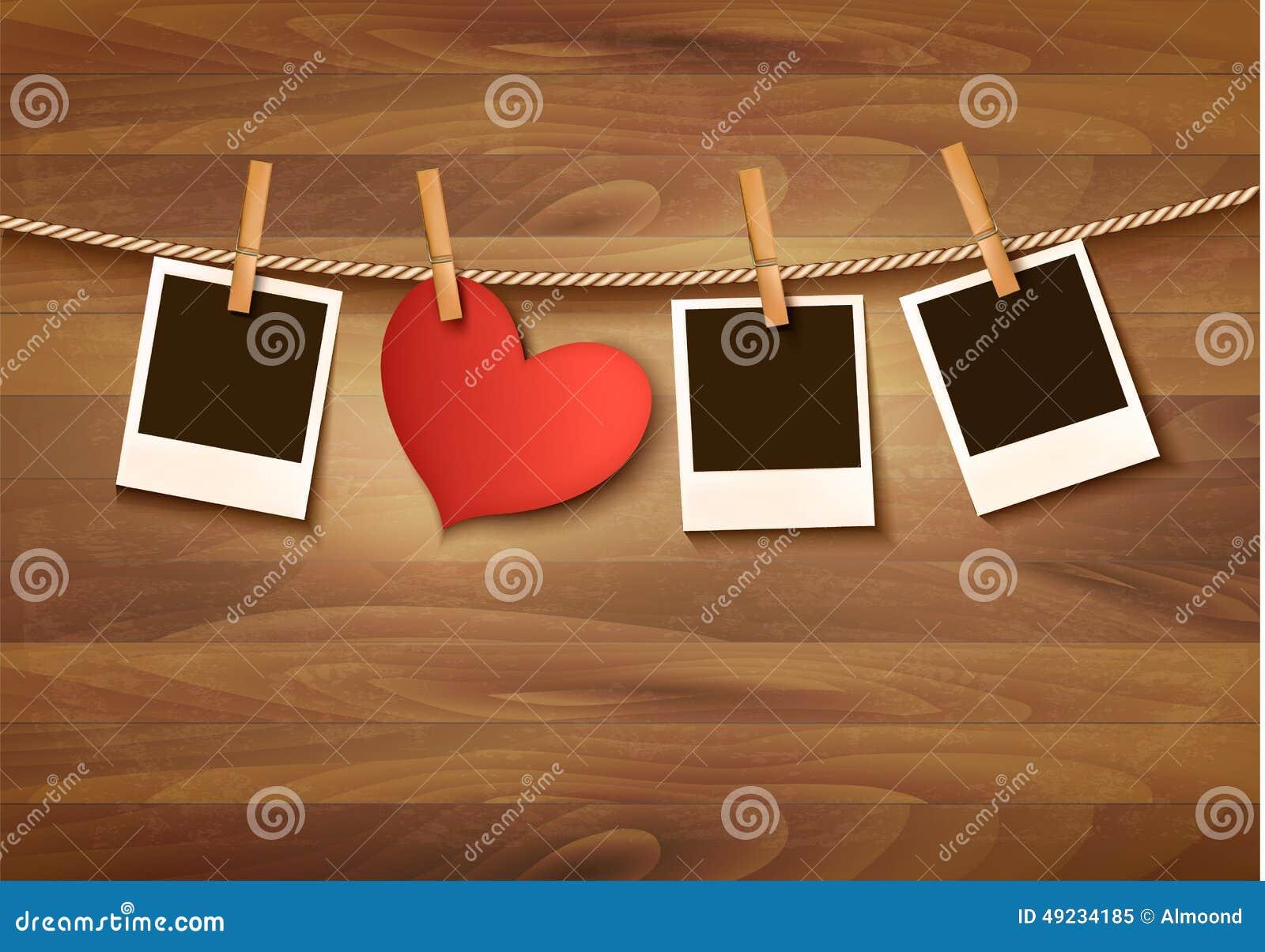 Fondo con dos corazones y dos fotos