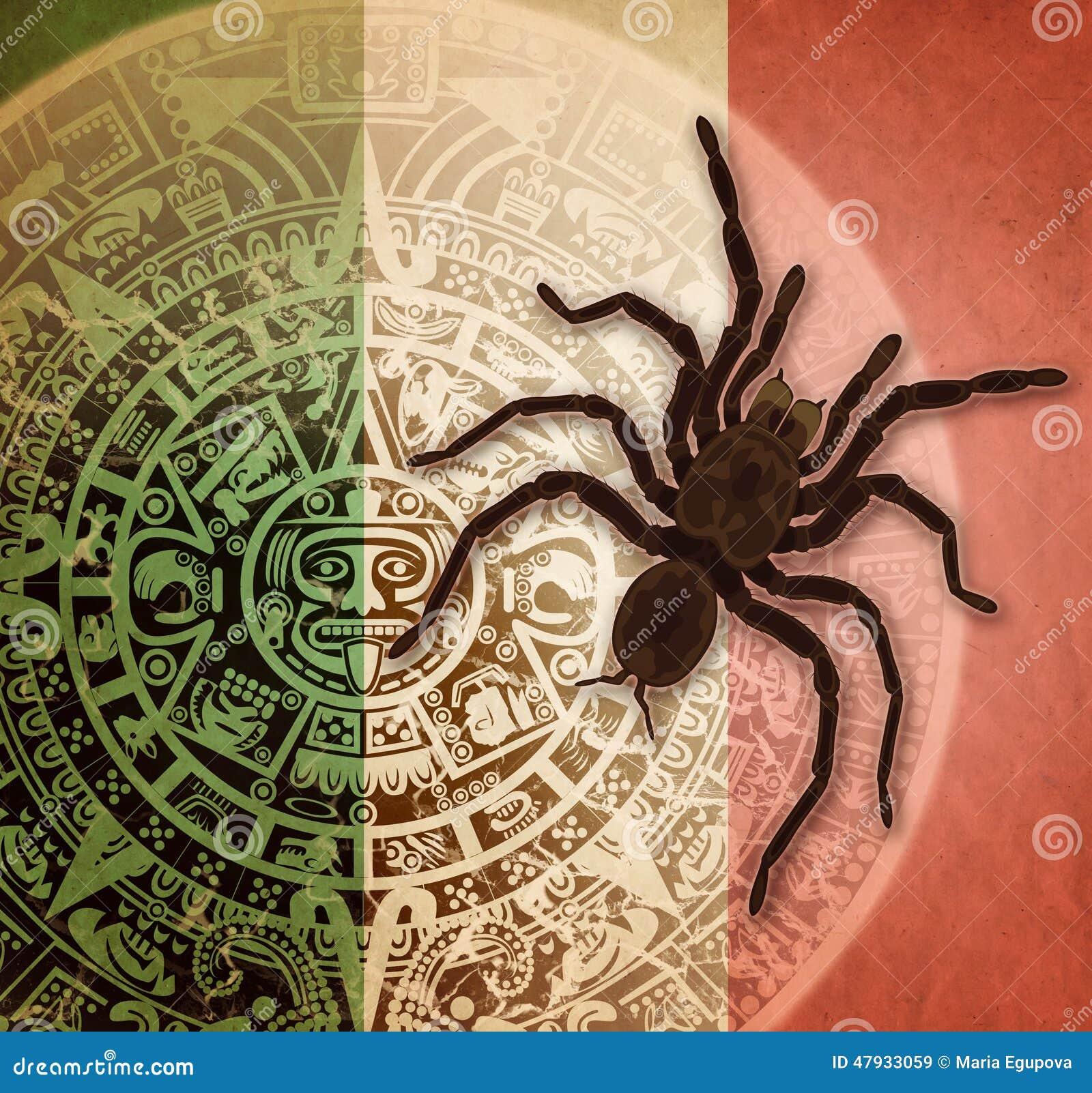 Fondo Con El Calendario Y La Tarántula Aztecas Stock De Ilustración
