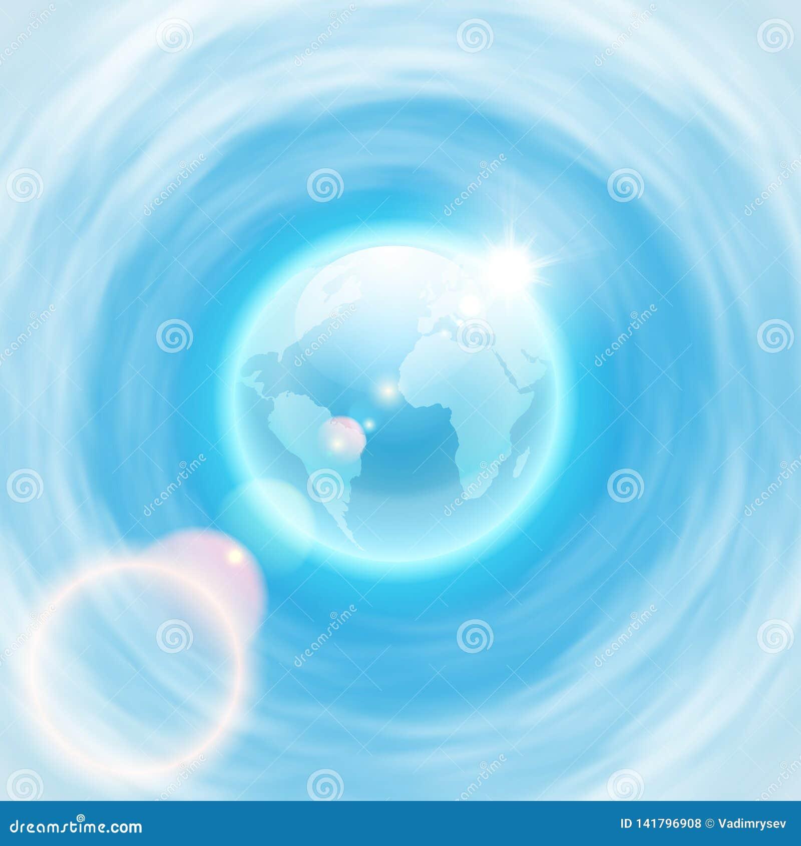 Fondo con el globo y el sol del brigh con la llamarada de la lente