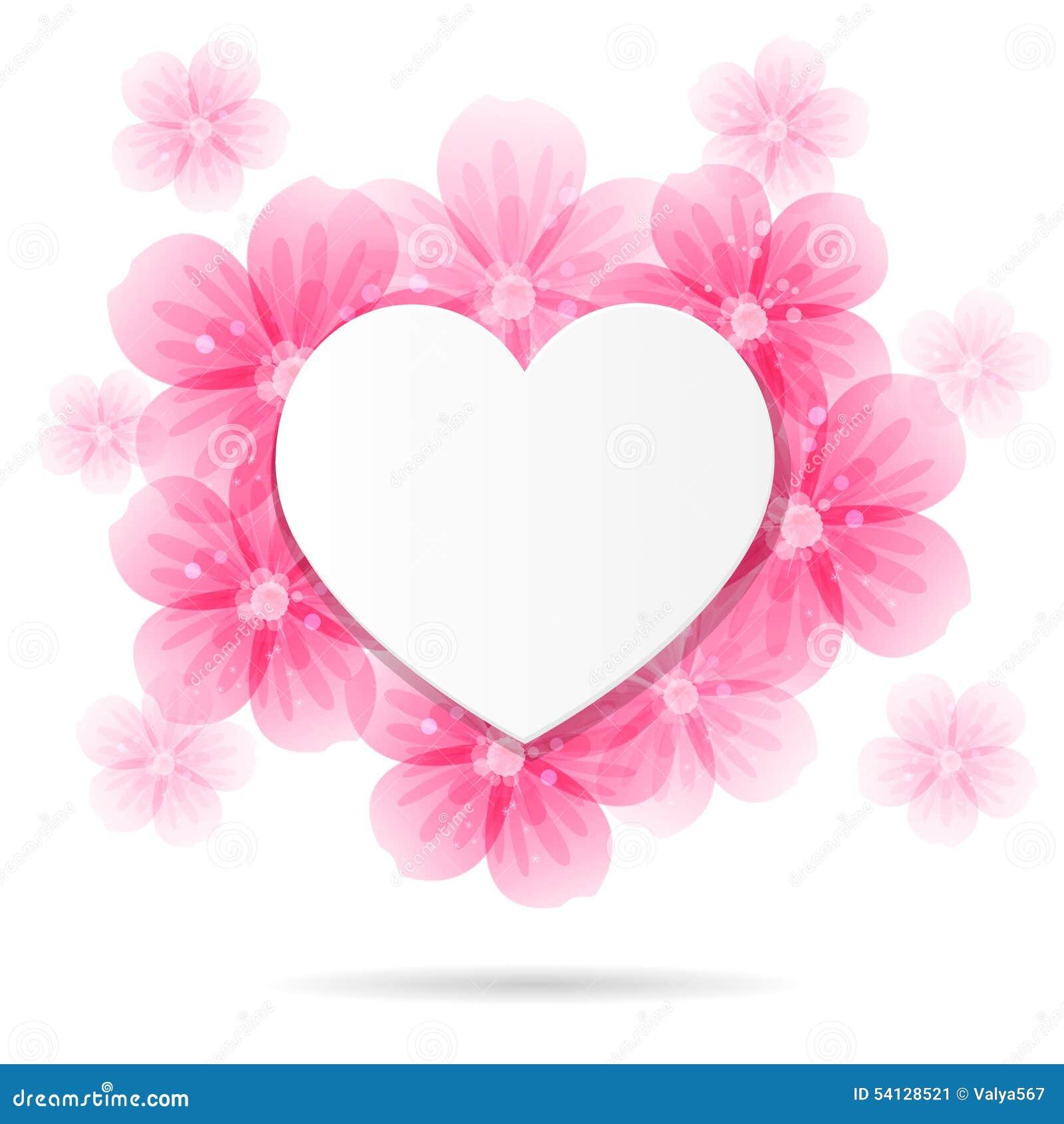Fondo Con El Marco Y Las Flores En Forma De Corazón Ilustración Del