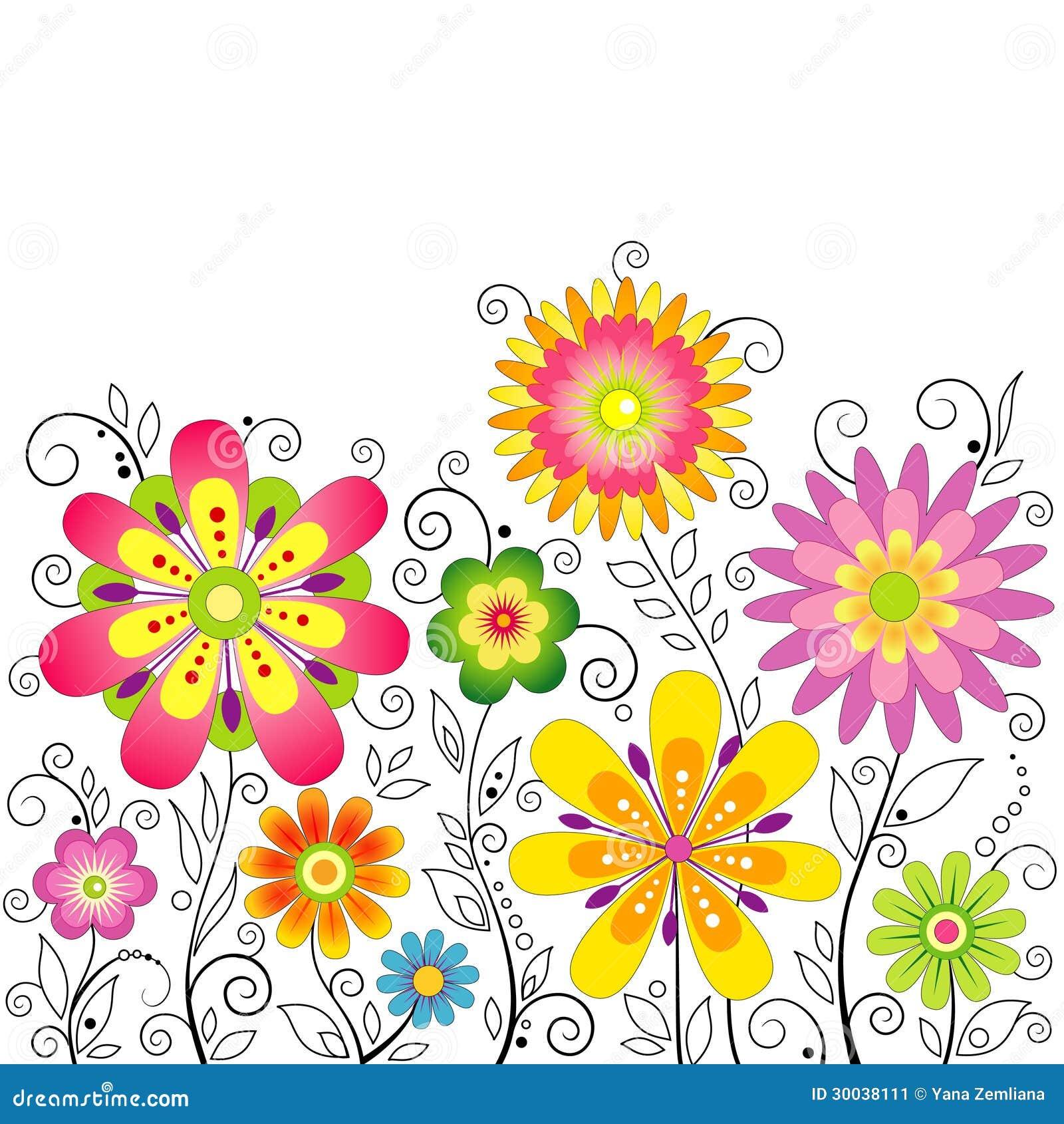 fondo con i fiori stilizzati illustrazione vettoriale