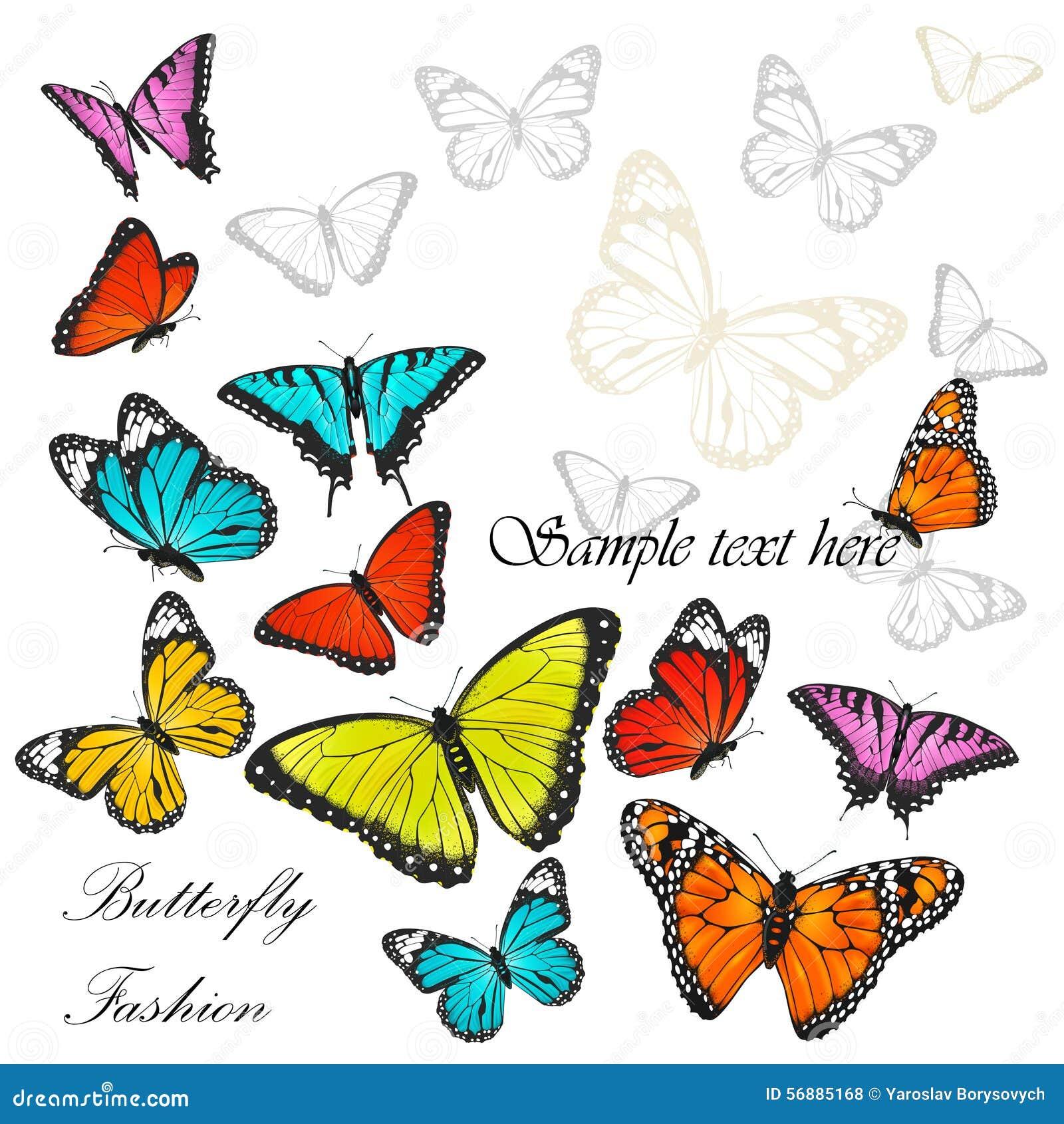 Fondo con il vettore variopinto delle farfalle