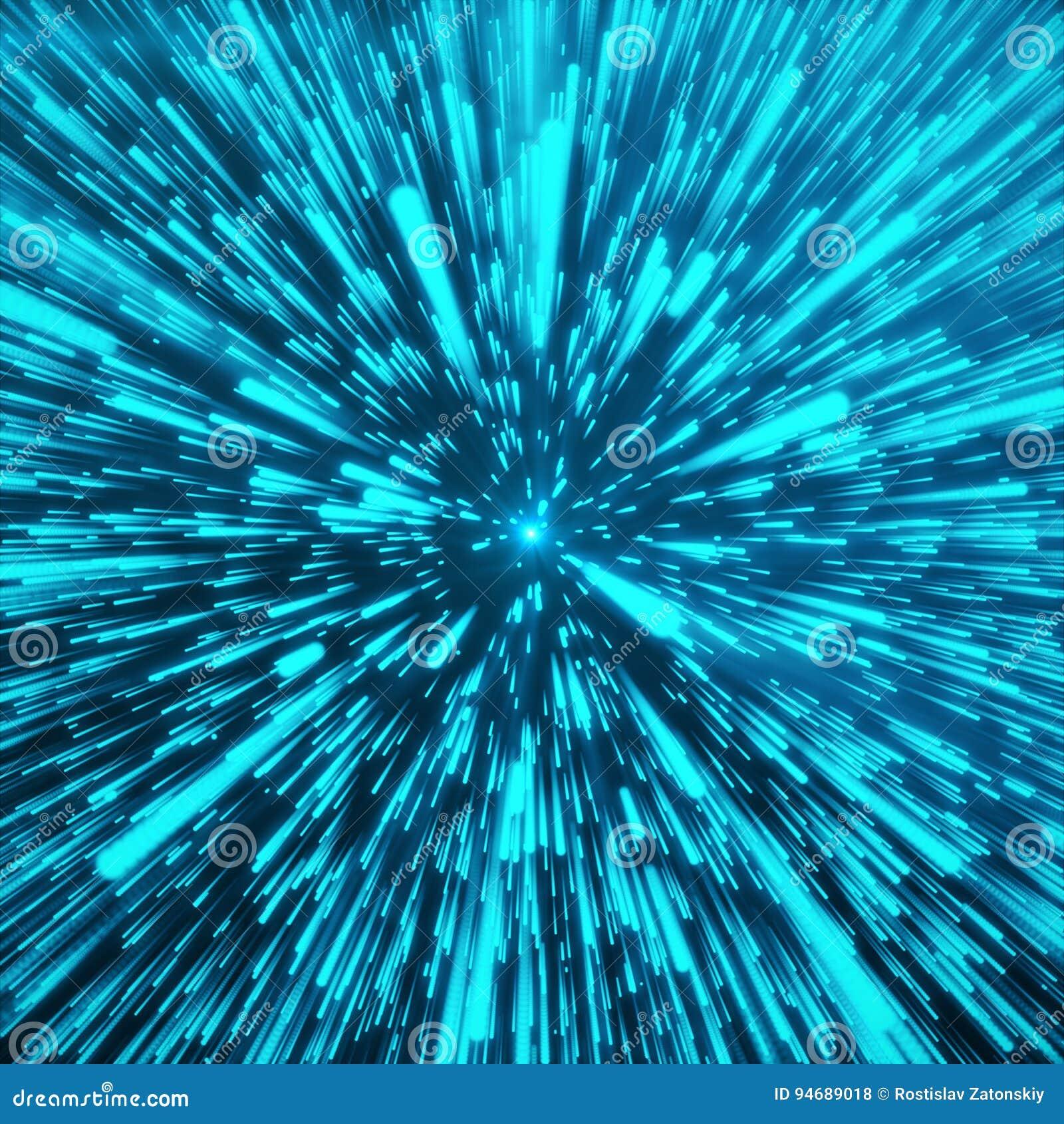 Fondo con la deformación de la estrella o Hyperspace abstracto Efecto de estallido abstracto Viaje Hyperspace El concepto de espa