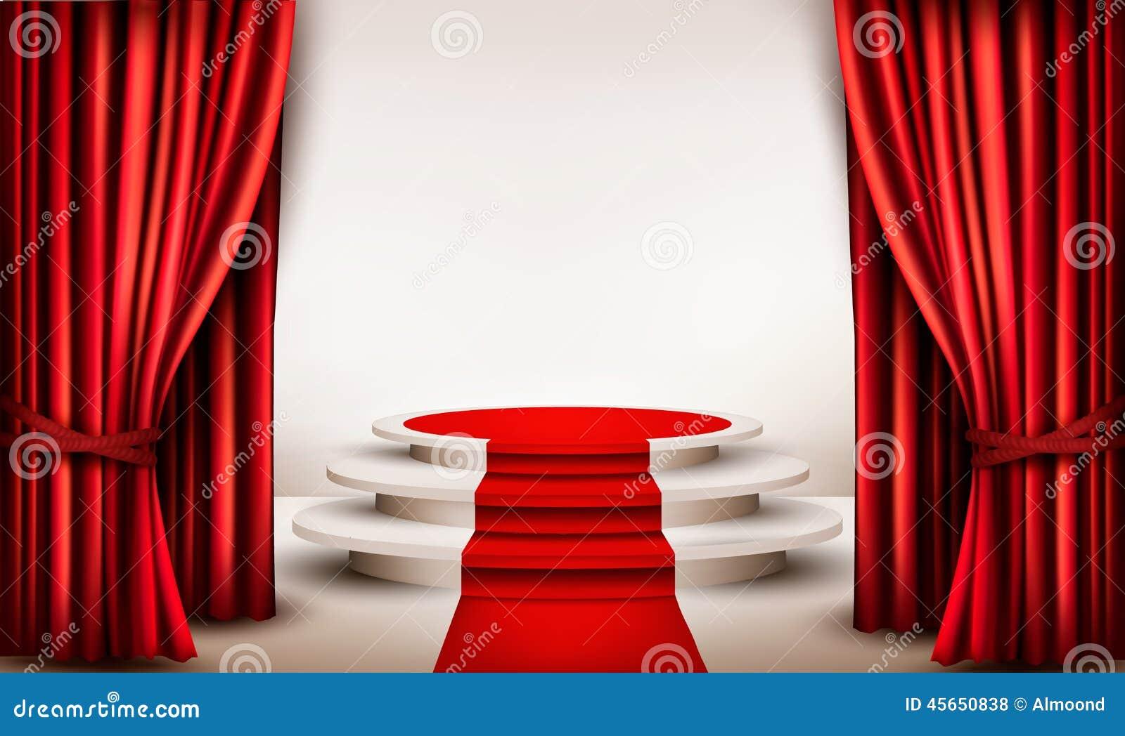 Fondo con las cortinas y la alfombra roja que llevan a un - Que cortinas se llevan ...