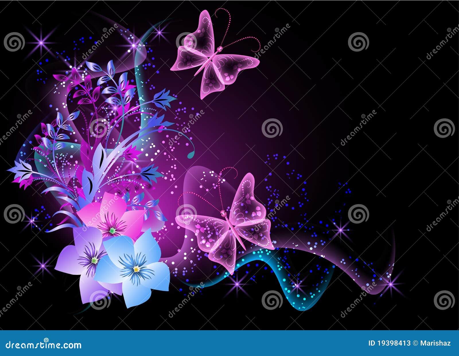 Fondo Con Las Flores El Humo Y La Mariposa Ilustración Del Vector