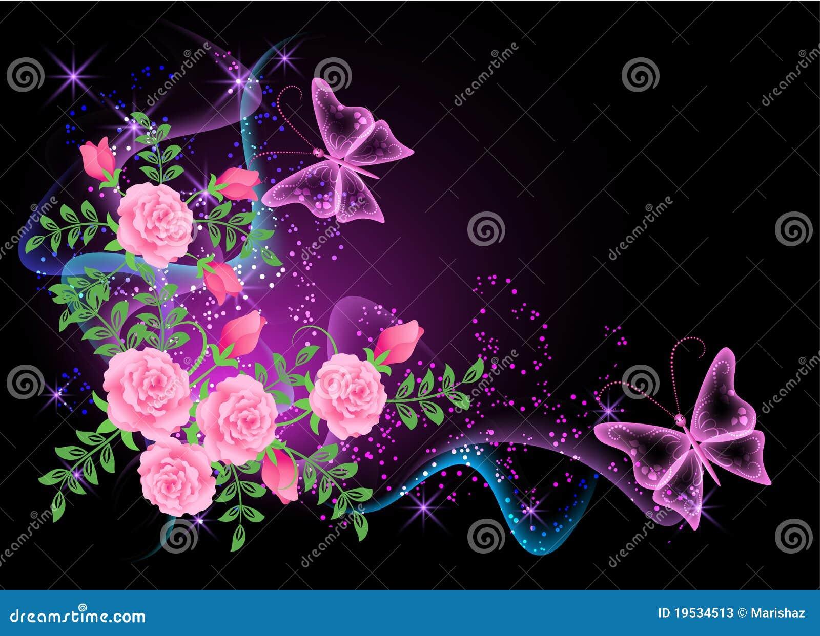 Fondo que brilla intensamente con las flores, el humo y la mariposa.