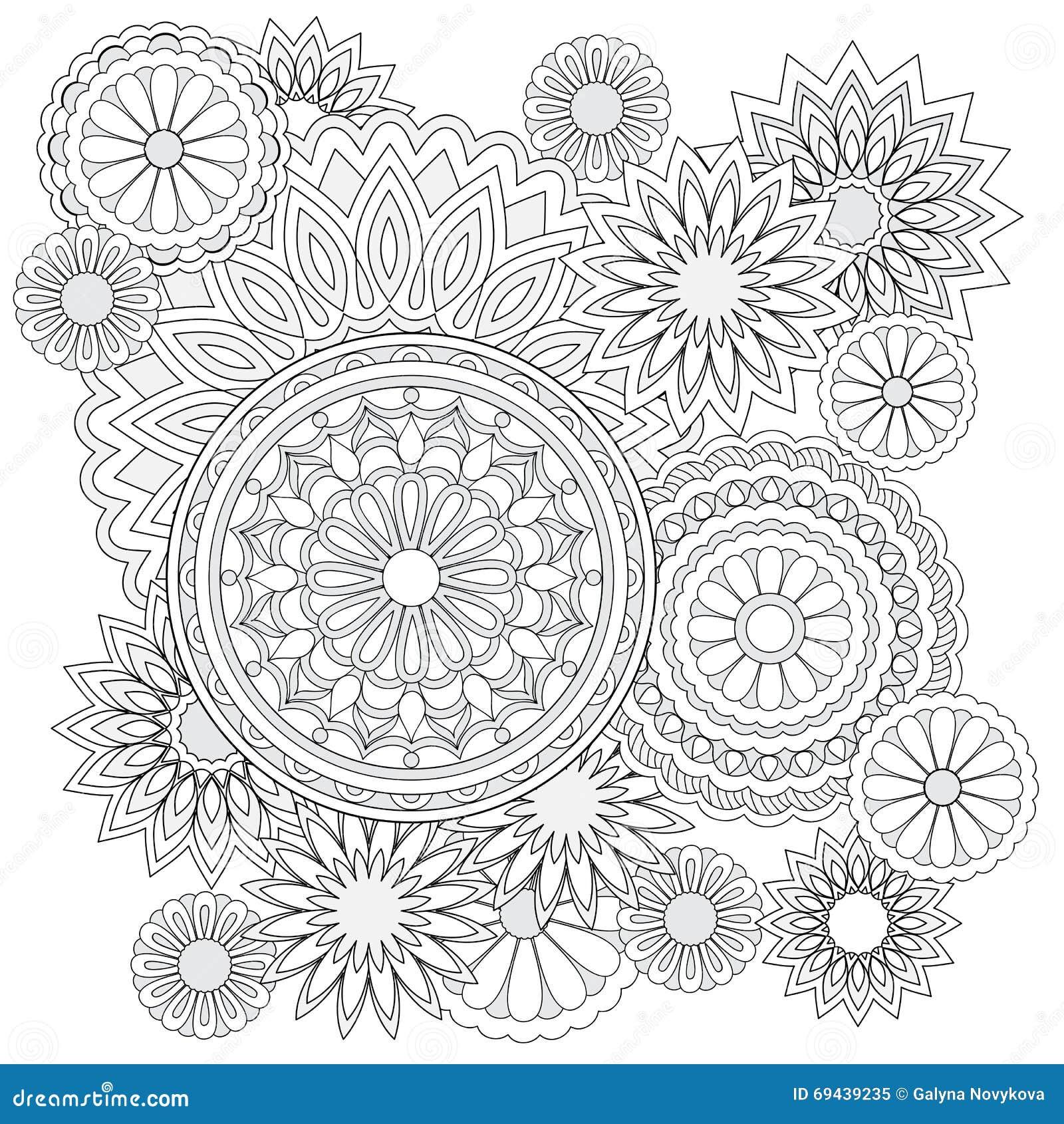 Fondo Con Las Flores Y Las Mandalas Ilustración del Vector ...