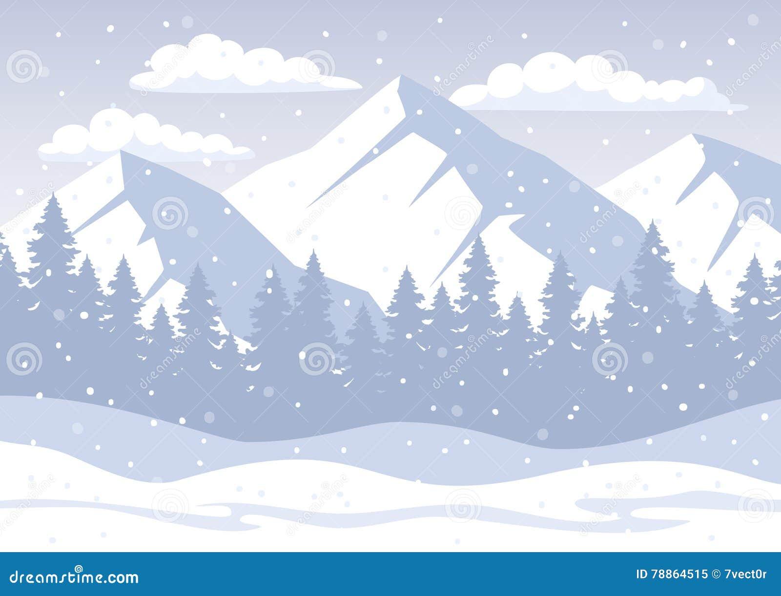 Fondo con las montañas rocosas, bosque del pino, colinas de la nieve, copos de nieve del invierno de la Navidad blanca