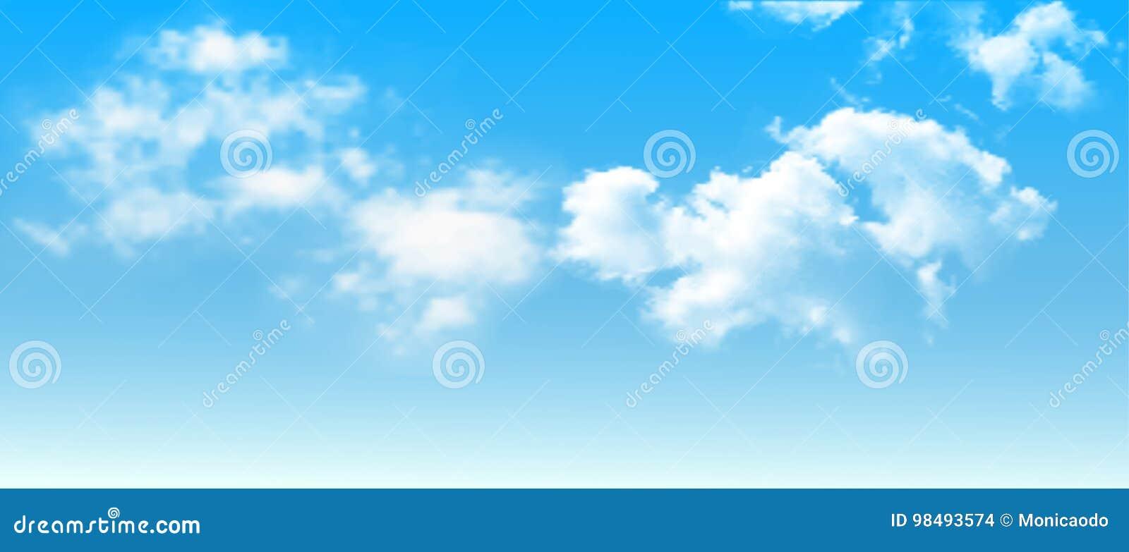 Fondo con las nubes en el cielo azul Fondo del vector