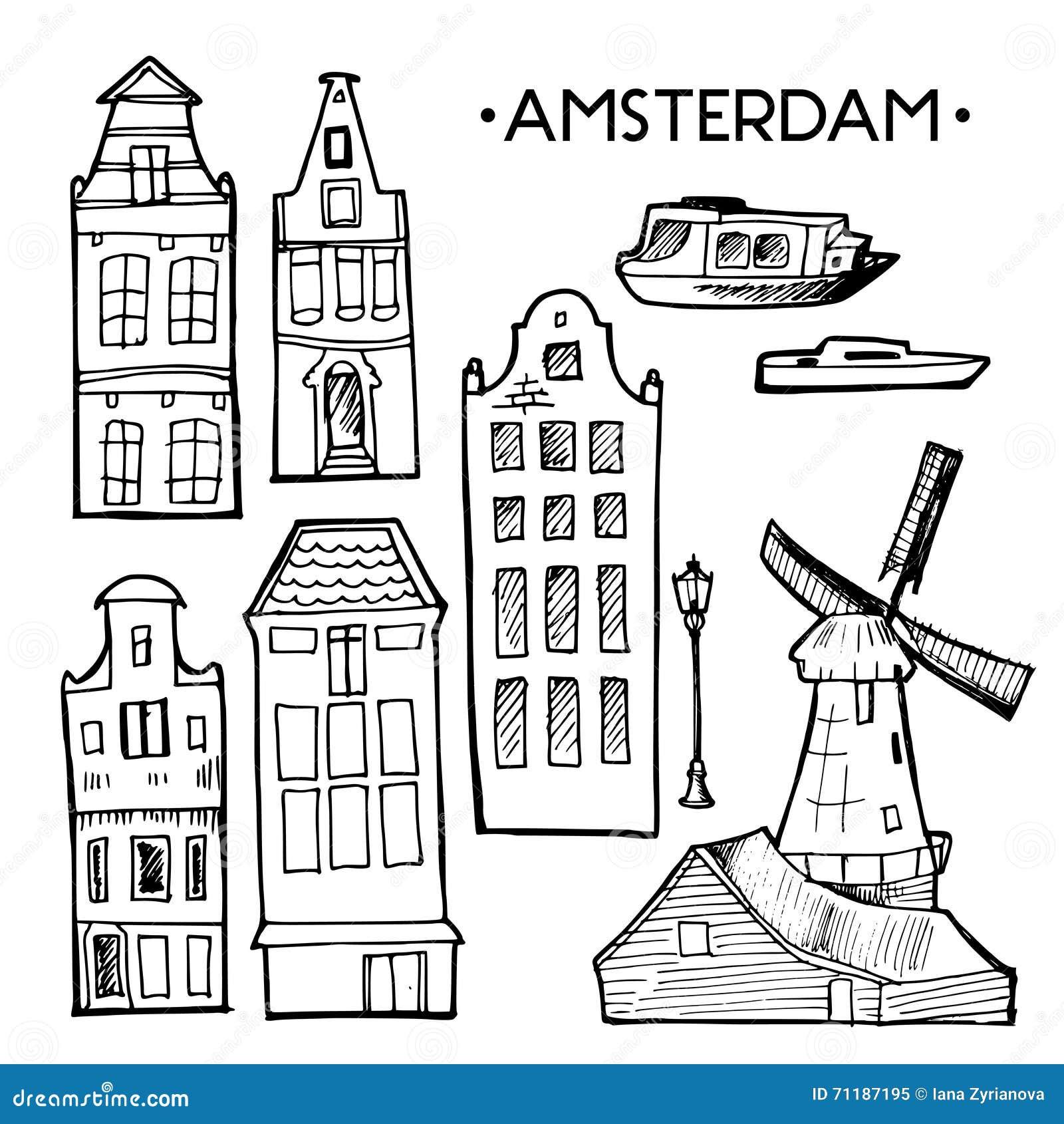 Fondo con le case disegnate a mano di amsterdam di for Software di progettazione di costruzione di case gratuito