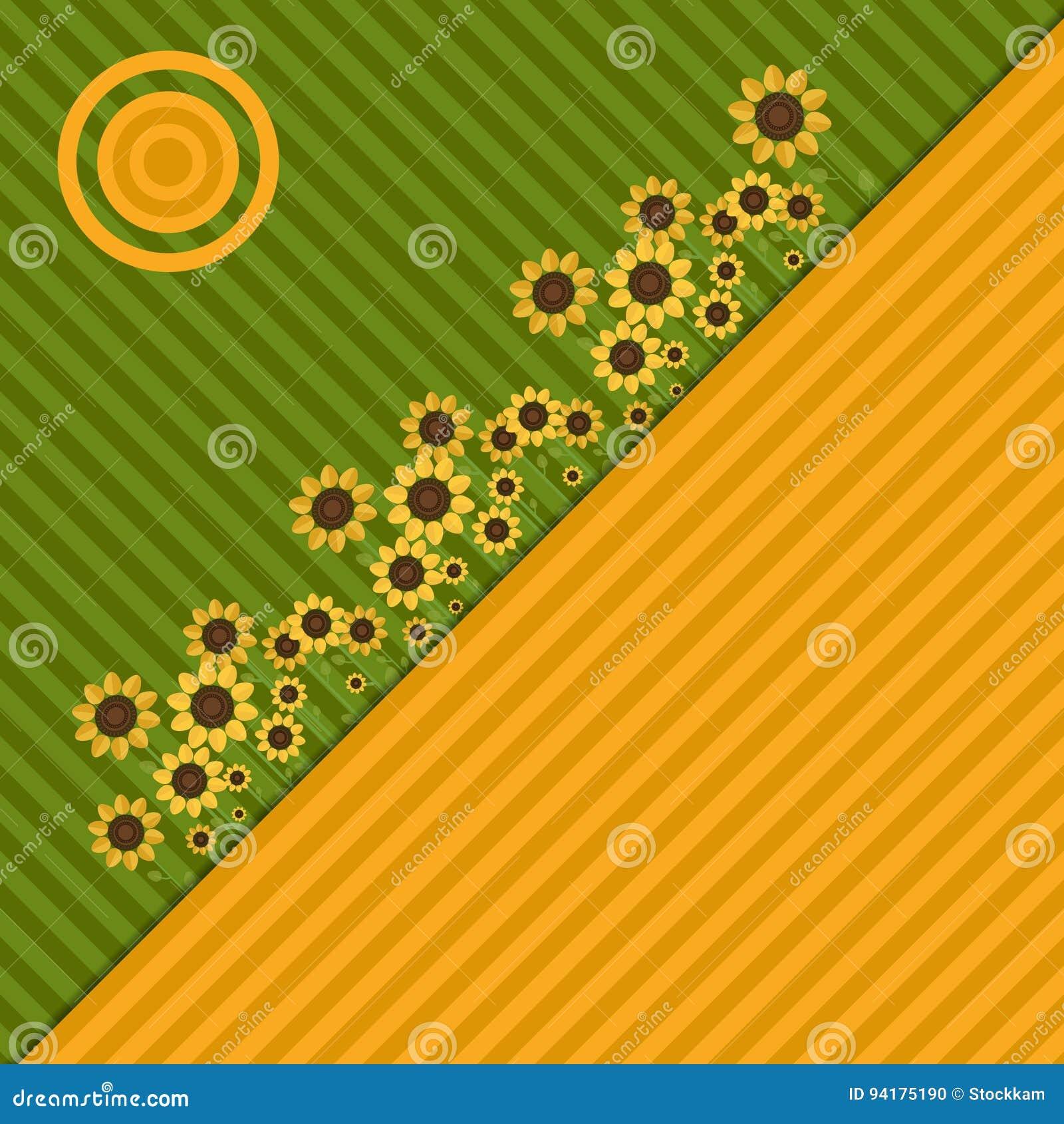 Fondo con los campos, los girasoles y Sun coloridos