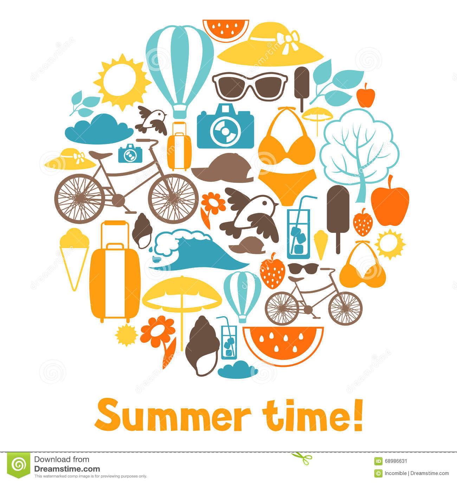 Fondo con los objetos estilizados del verano
