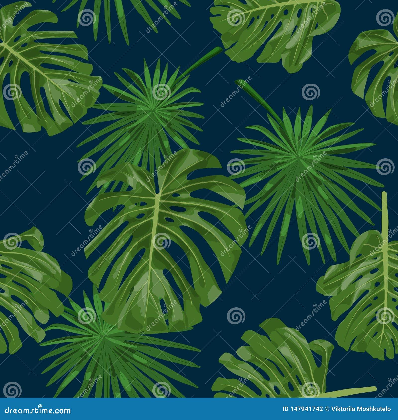 Fondo con monstera y hojas de palma en azules marinos