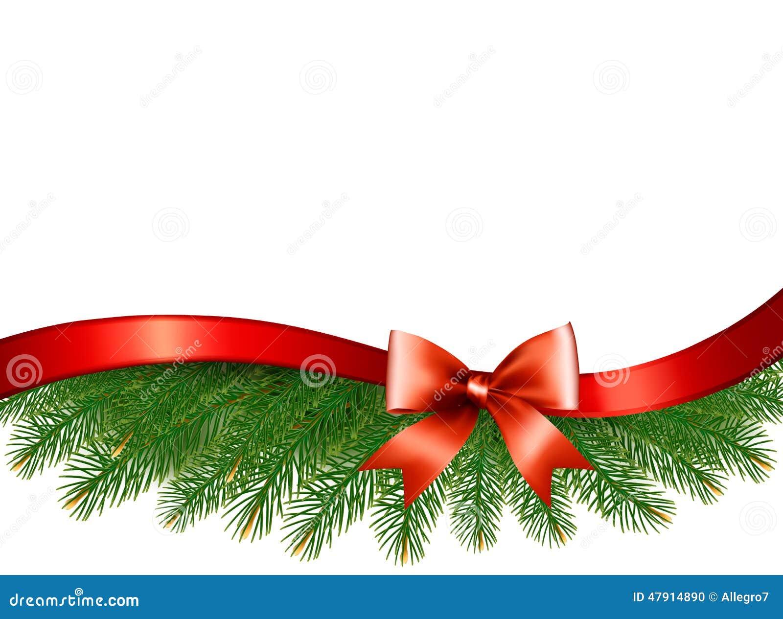 Fondo con ramas de rbol de navidad y una cinta roja for Cintas de navidad