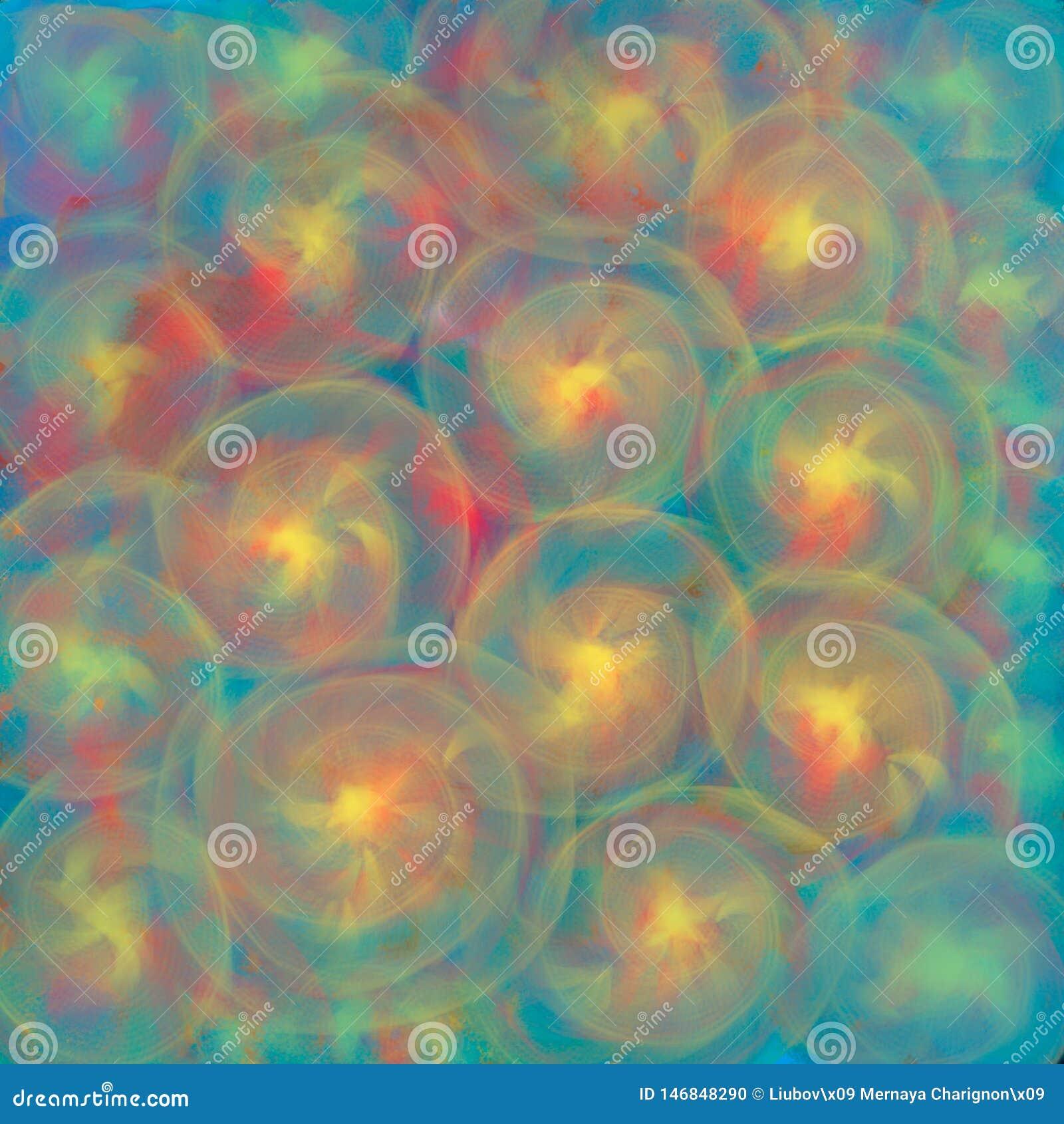 Fondo con struttura vaga delle spirali trasparenti d ardore o delle linee circolari gialle colorate per i tessuti, manifesti o