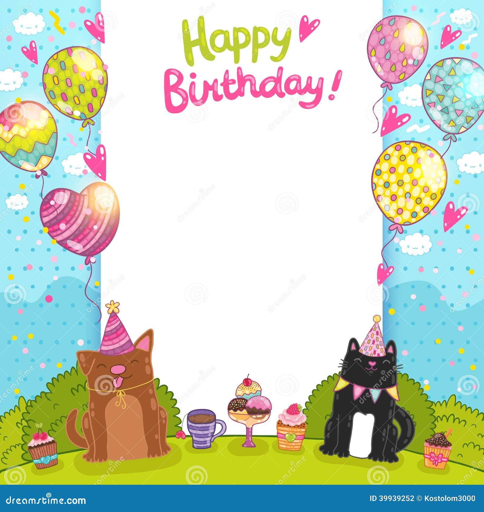 Fondo Con Un Gato, Perro Del Feliz Cumpleaños Ilustración