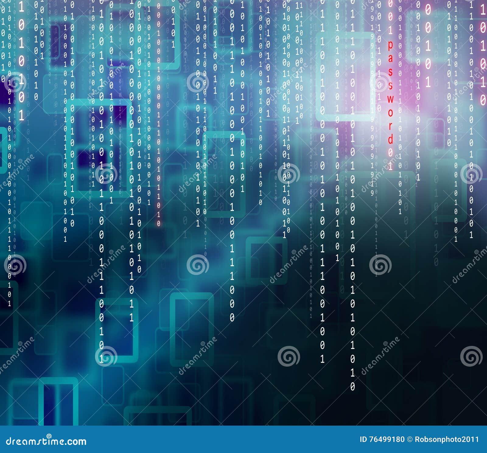 Fondo conceptual del código binario de la contraseña