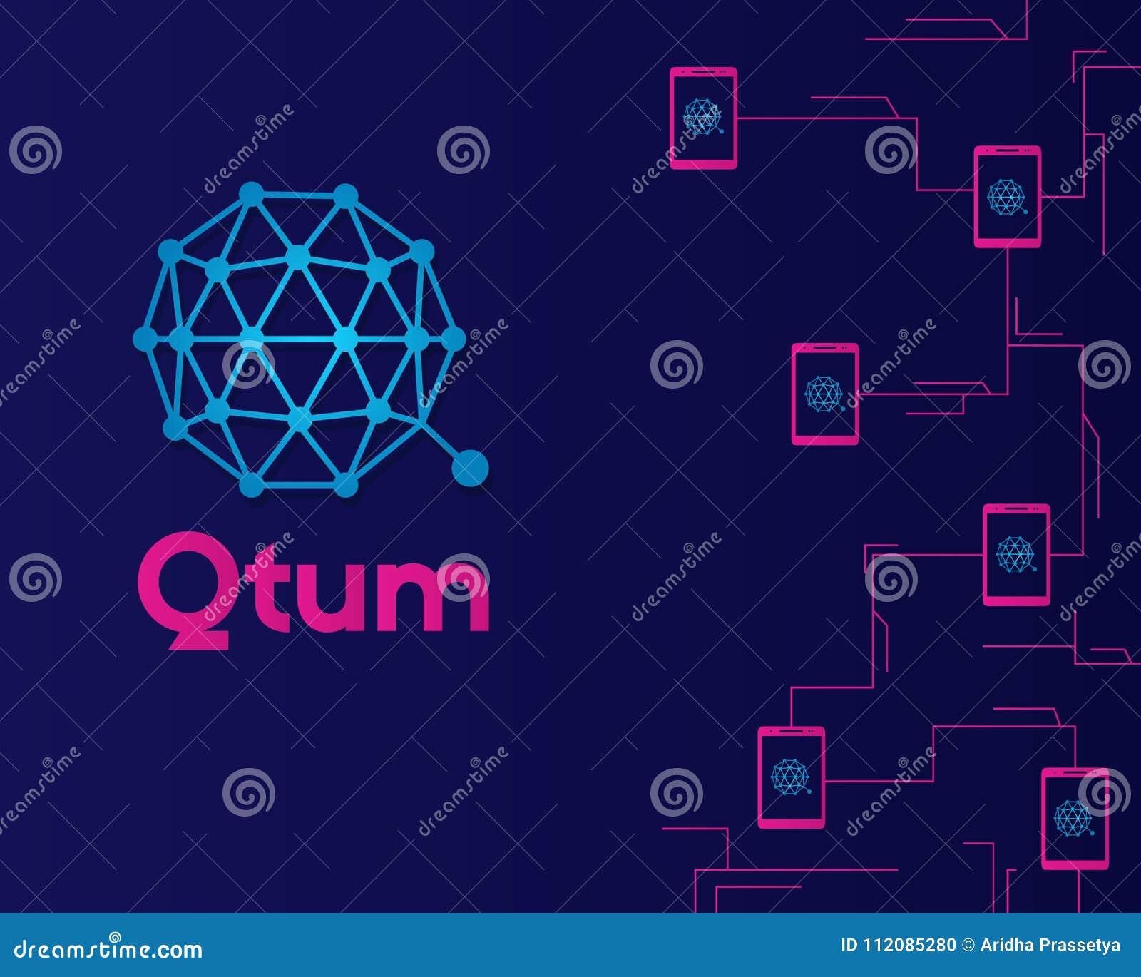Qtum Blockchain Cryptocurreny Connected Hintergrund Abbildung ...