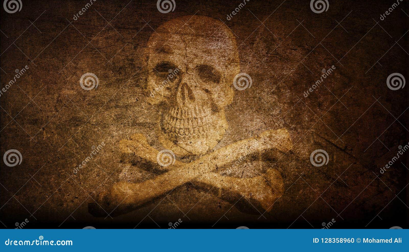Fondo X-contrassegnato del cranio dell annata due artistici astratti