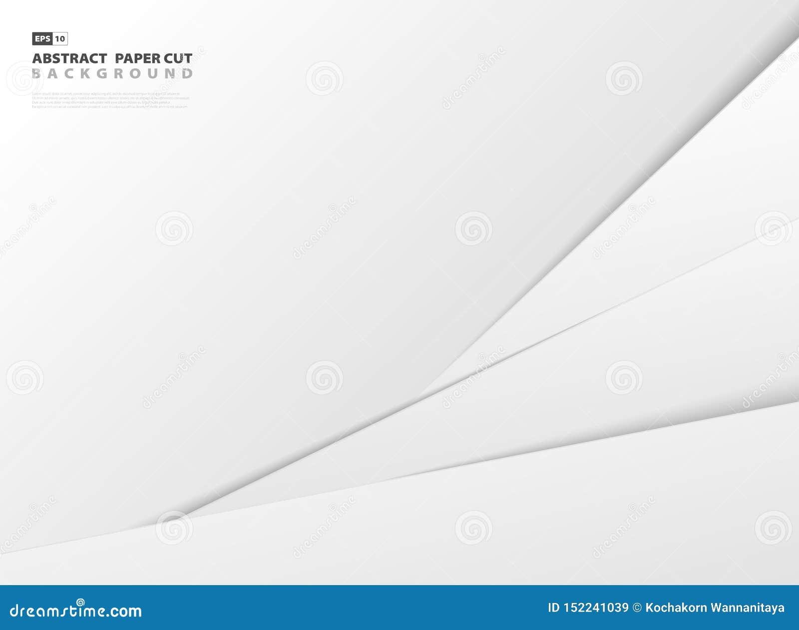 Fondo cortado de la plantilla del estilo del Libro Blanco gris y de la pendiente abstracta