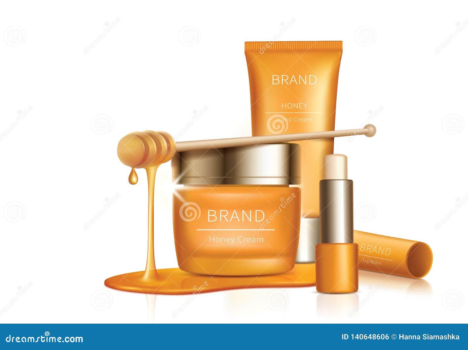 Fondo cosmético del vector con los goteos de la miel