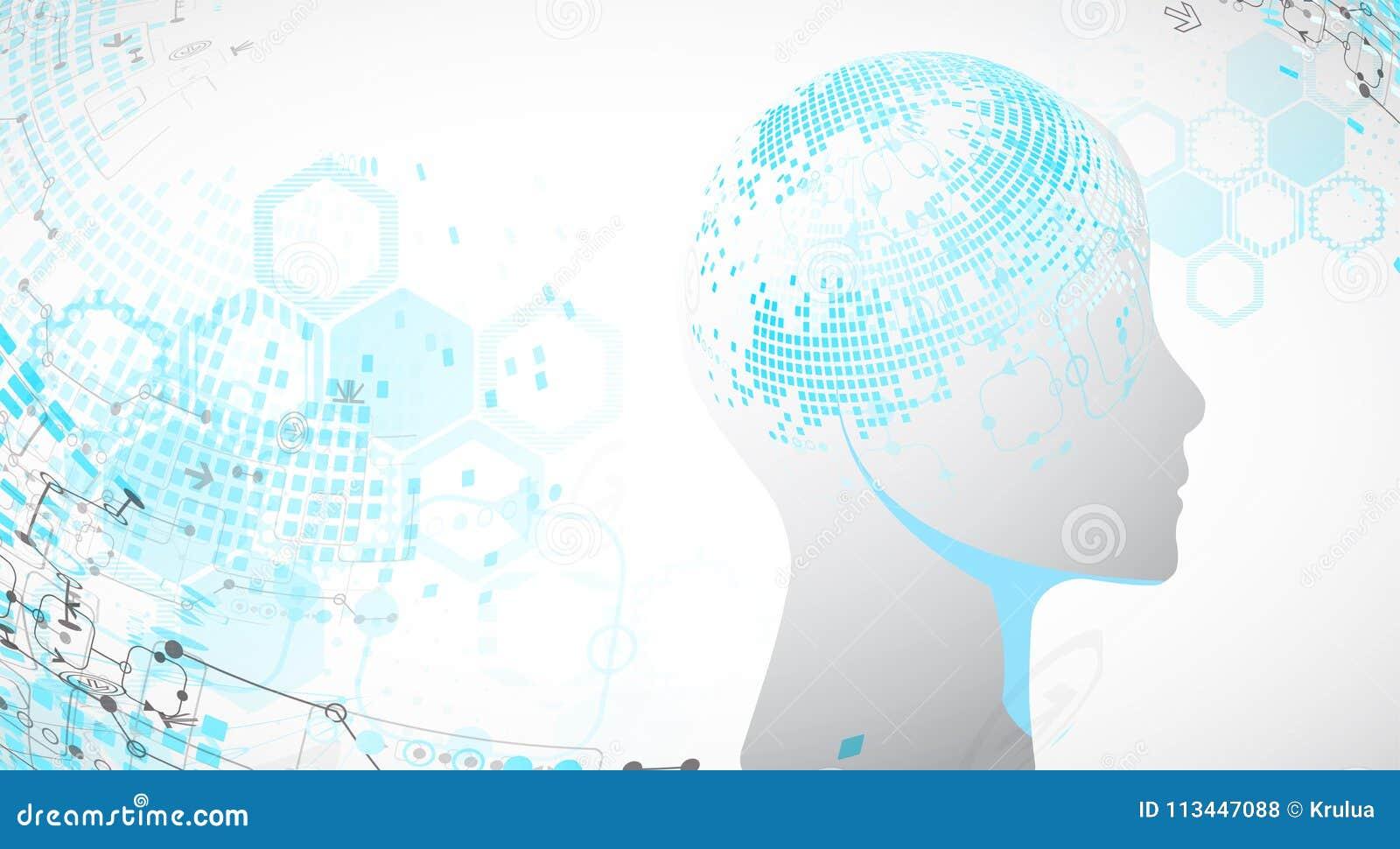 Fondo creativo del concepto del cerebro Inteligencia artificial