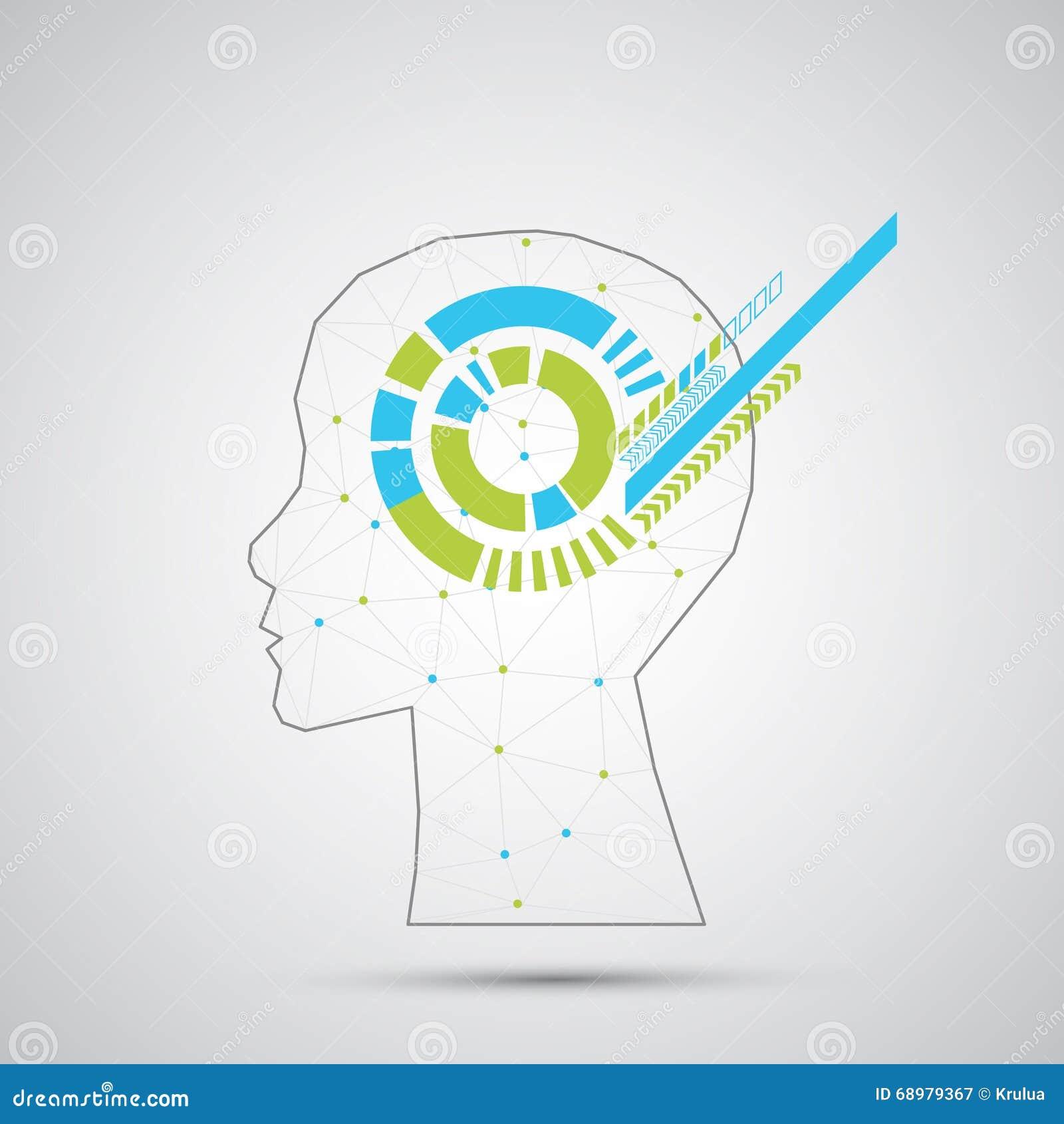 Fondo creativo del concepto del cerebro con rejilla triangular Artifici
