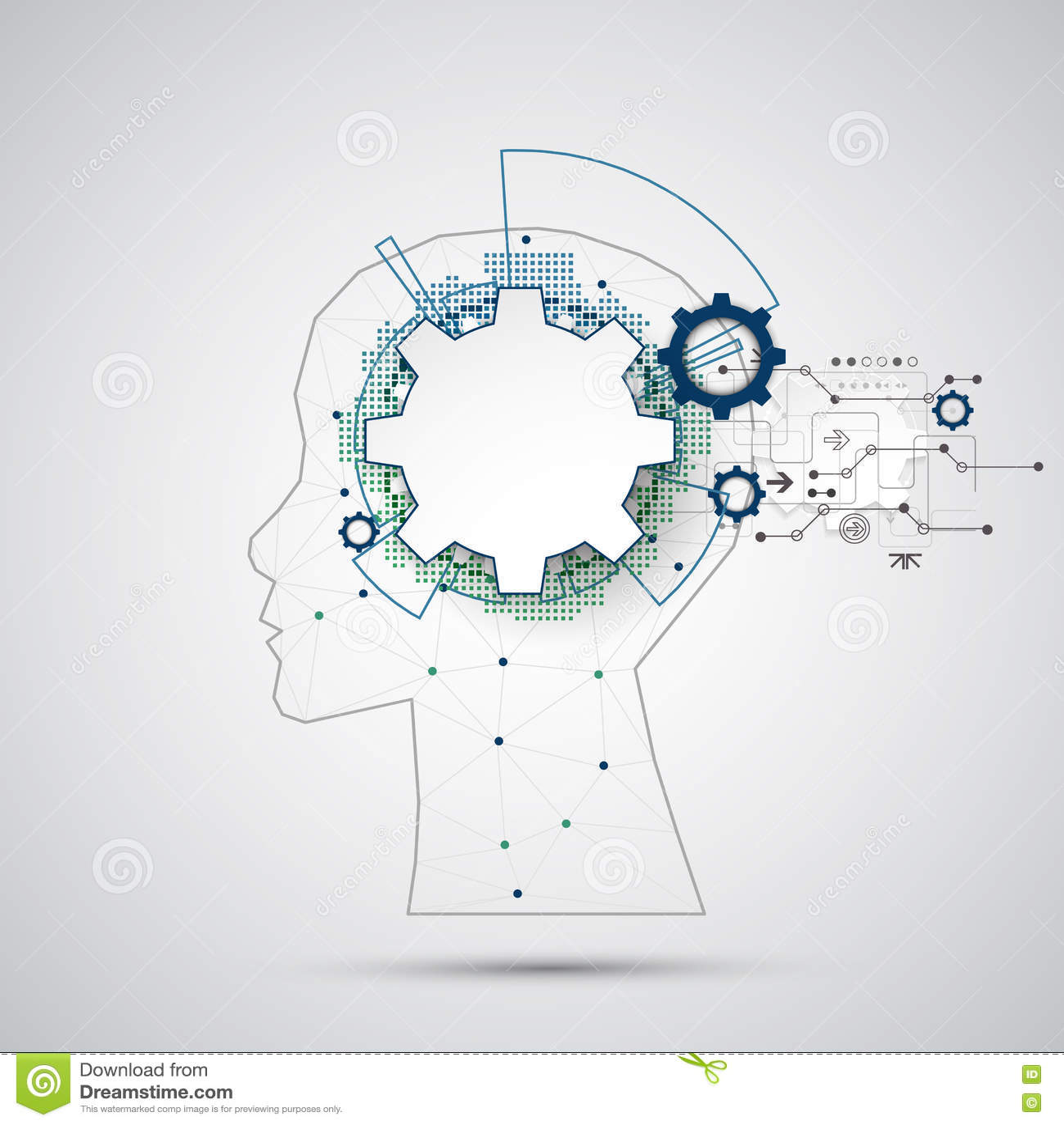 Fondo creativo di concetto del cervello con la griglia triangolare Artifici