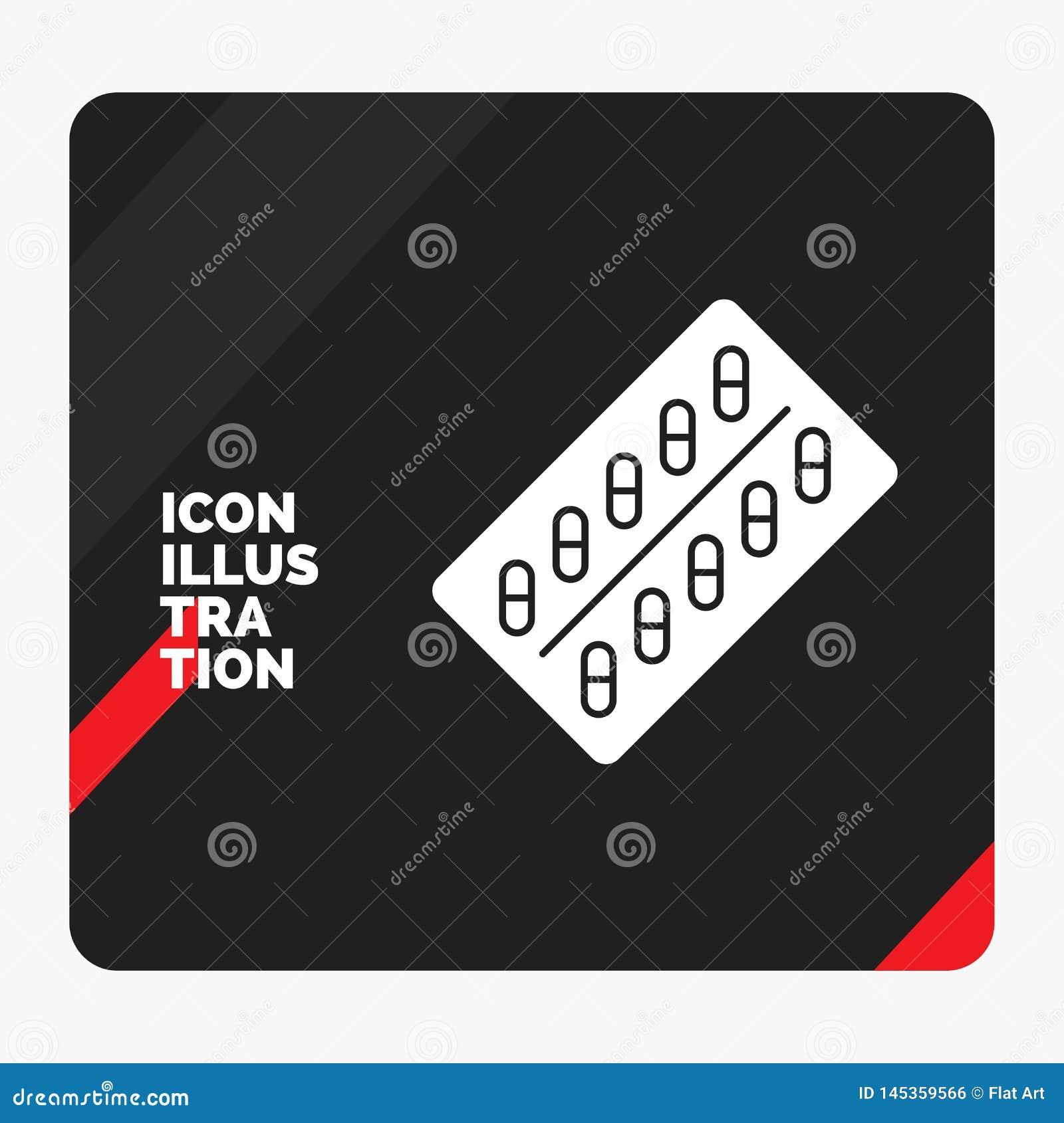 Fondo creativo rojo y negro de la presentación para la medicina, píldora, drogas, tableta, icono del Glyph del paquete