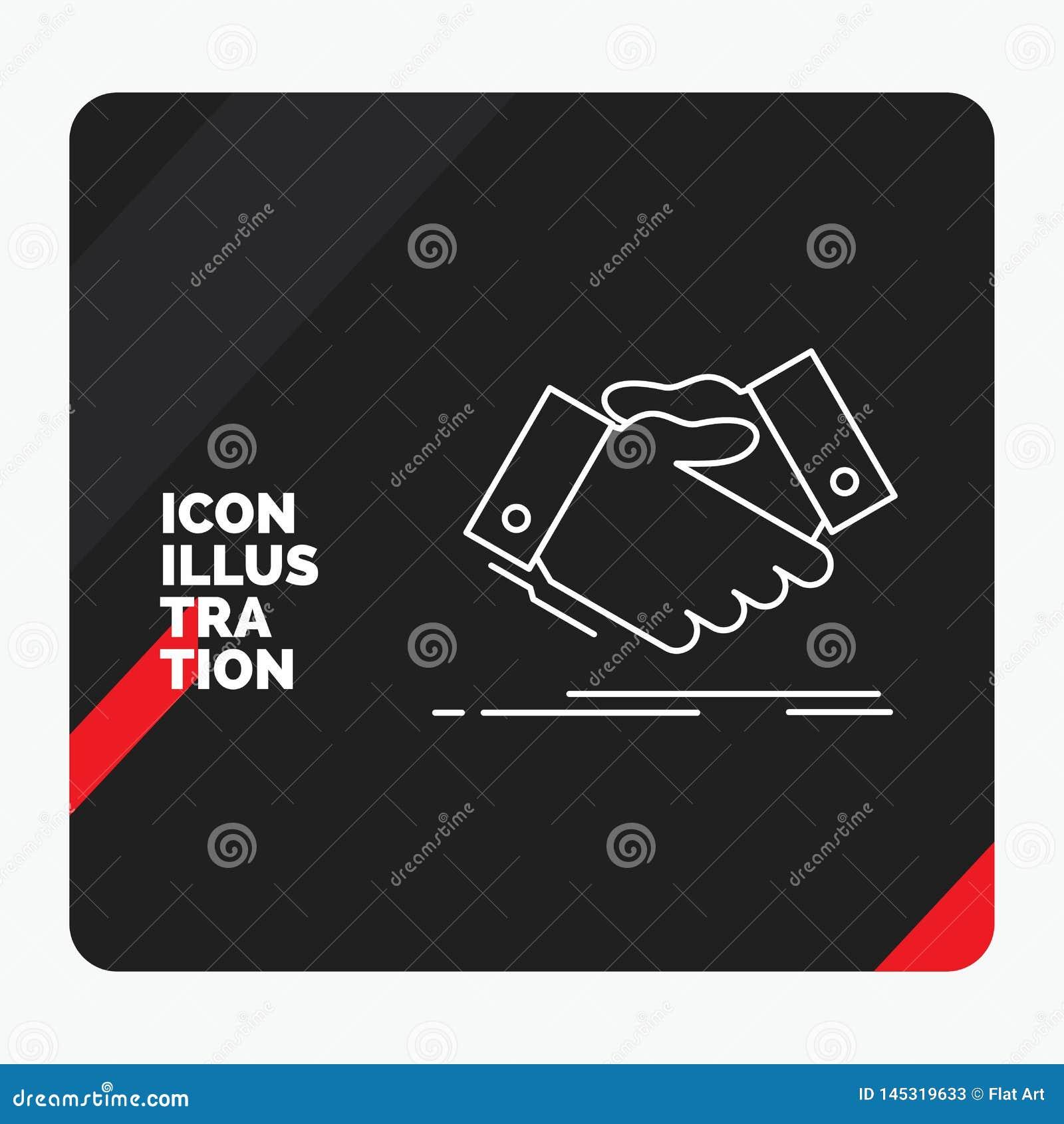 Fondo creativo rosso e nero di presentazione per la stretta di mano, scossa della mano, stringente mano, accordo, icona della lin