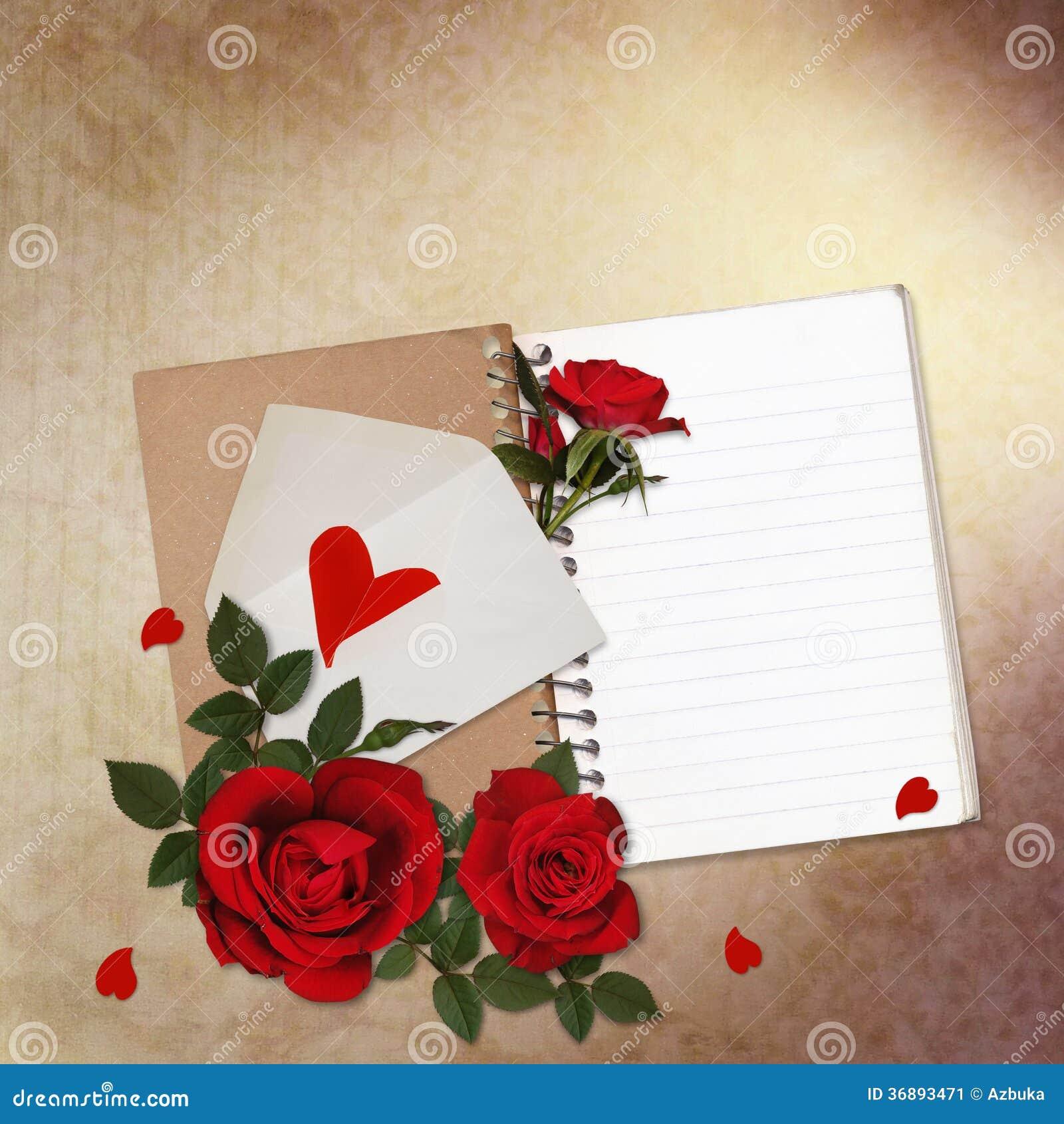 Download Fondo D'annata Con Le Rose Rosse, Il Blocco Note Ed Il Cuore Illustrazione di Stock - Illustrazione di arte, cuore: 36893471