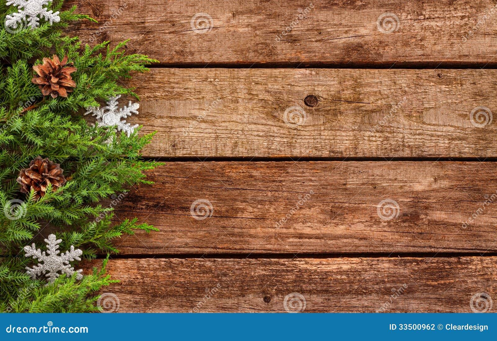 Fondo d annata di natale - il vecchi legno e pino si ramificano
