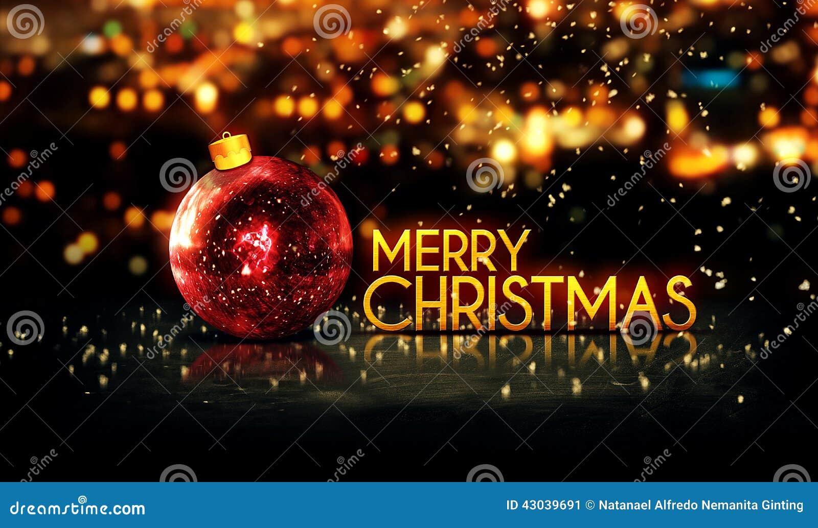 Buon Natale 3d.Fondo 3d Di Bokeh Di Buon Natale Rosso Dell Oro Bello Immagine Stock