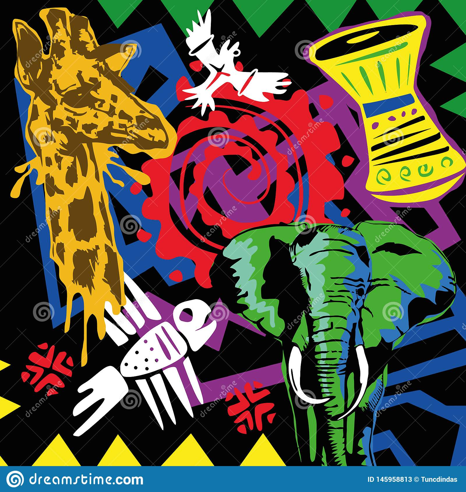 Fondo de África del vector del arte pop