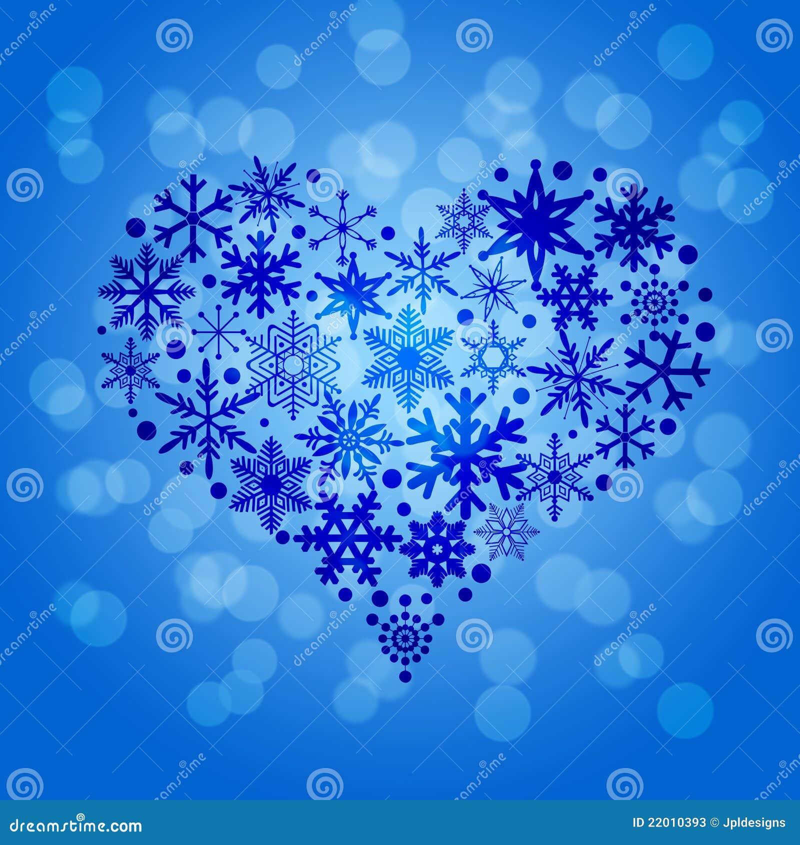 Fondo de Blurr de la dimensión de una variable del corazón de los copos de nieve de la Navidad