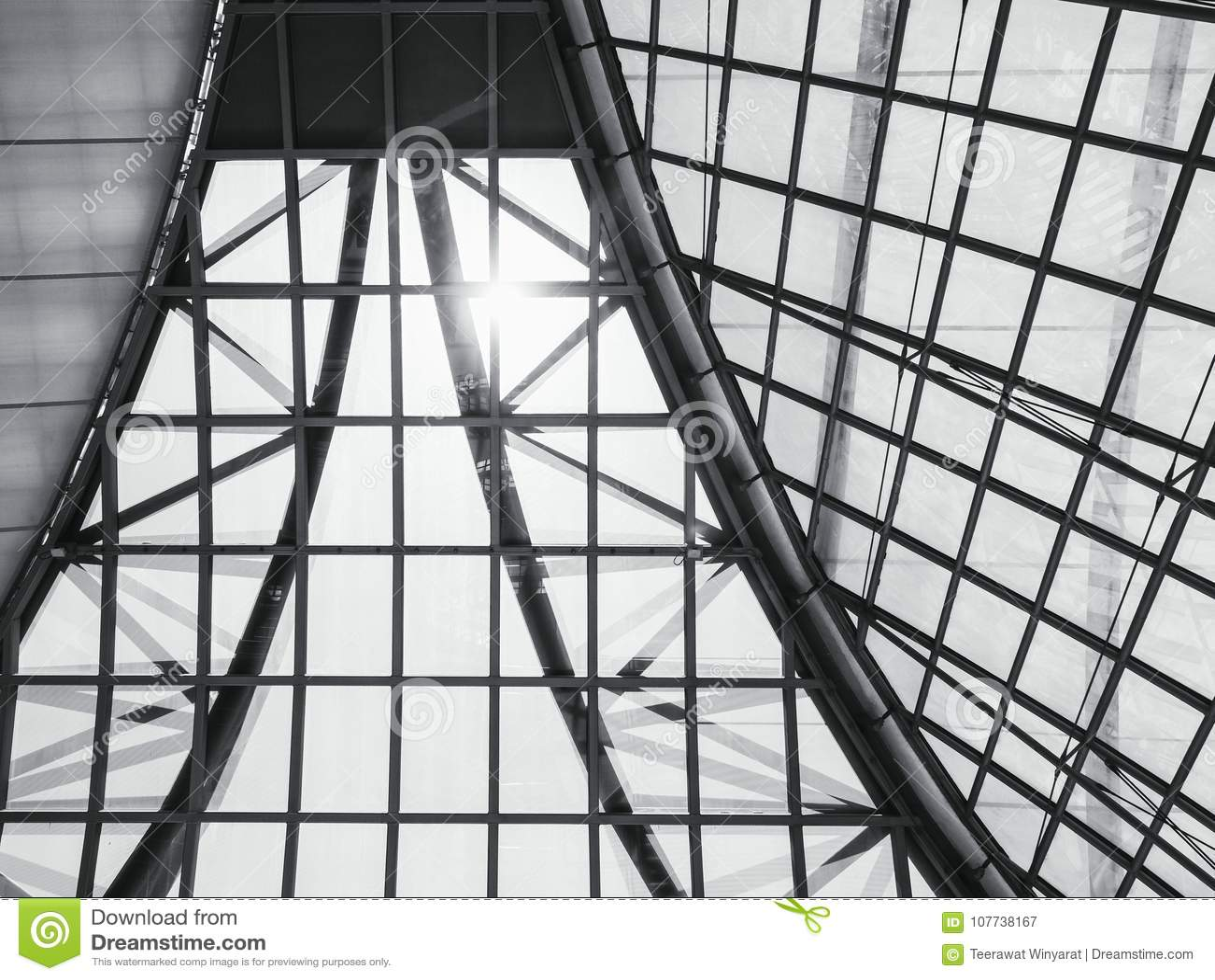 Fondo de cristal del modelo de la estructura de acero del tejado de la arquitectura