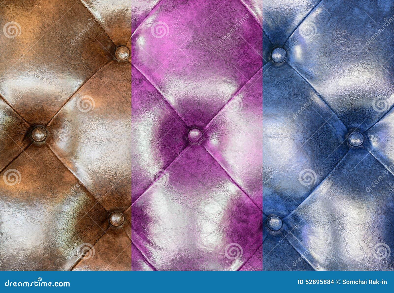 Fondo de cuero de Brown, rosado y azul de la tapicería del sofá
