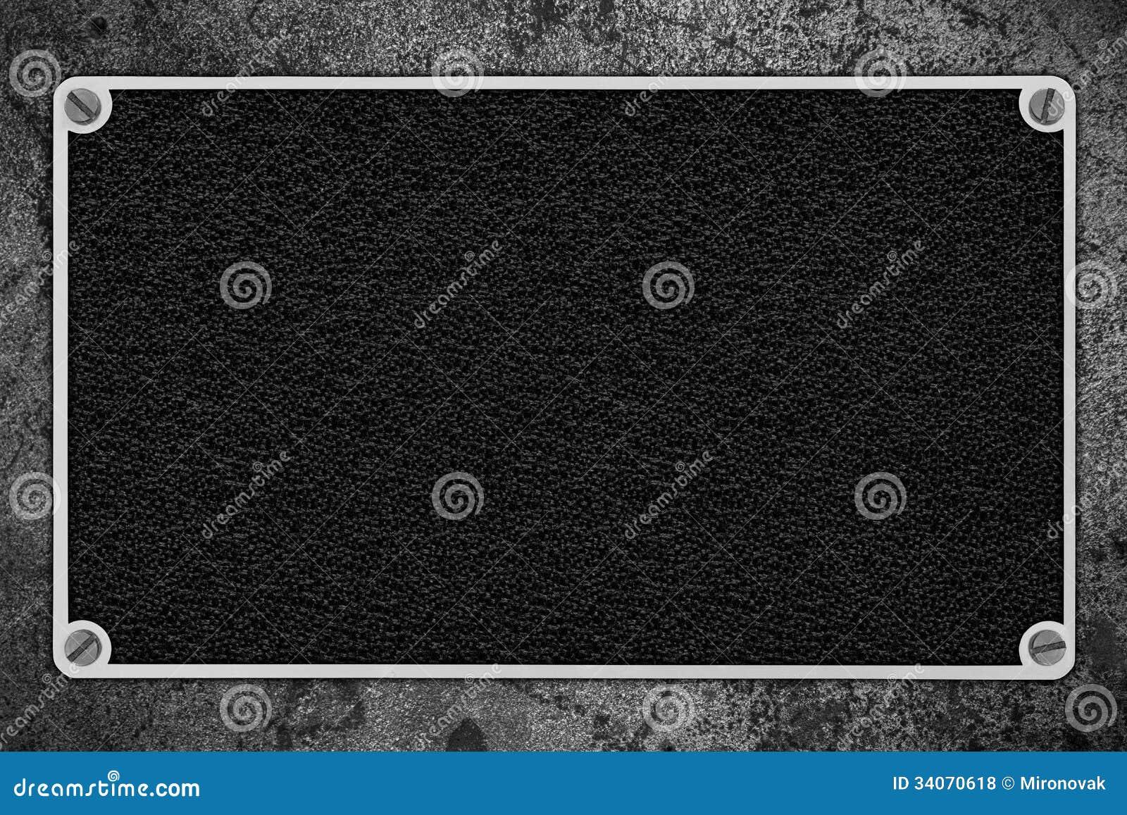 Fondo De Cuero Negro En Marco Del Metal Plateado Foto de archivo ...